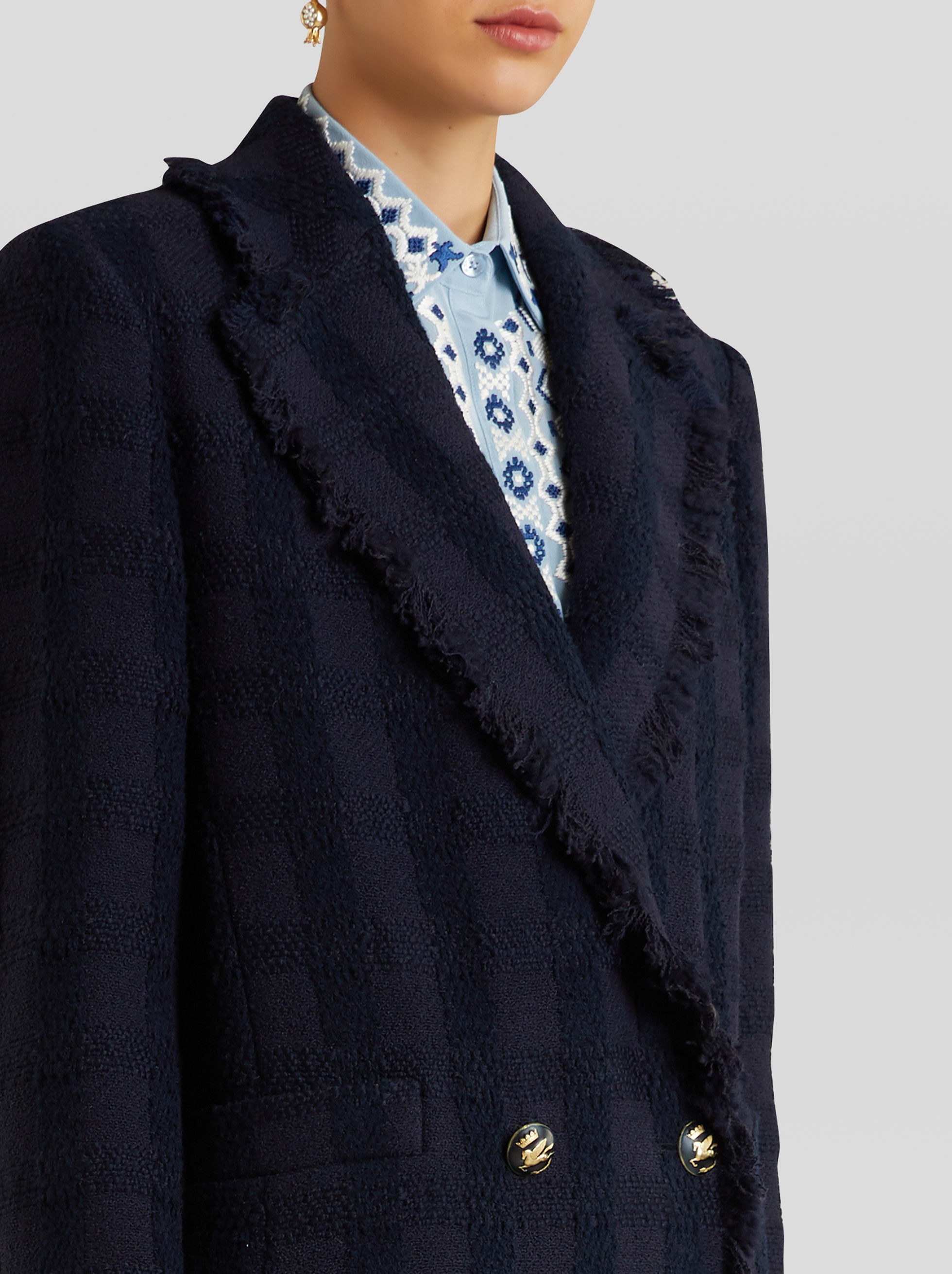 LIGHT DOUBLE-BREASTED BOUCLÉ COAT