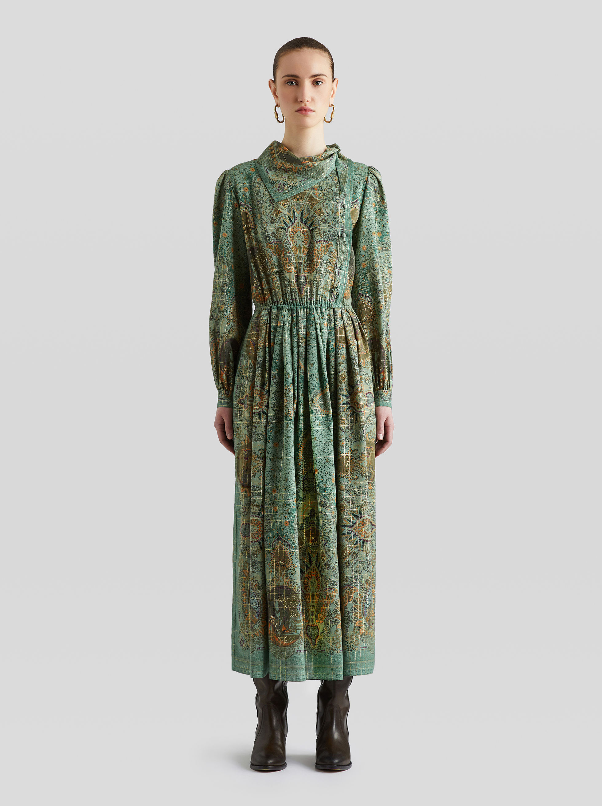 PAISLEY PRINT WOOL DRESS