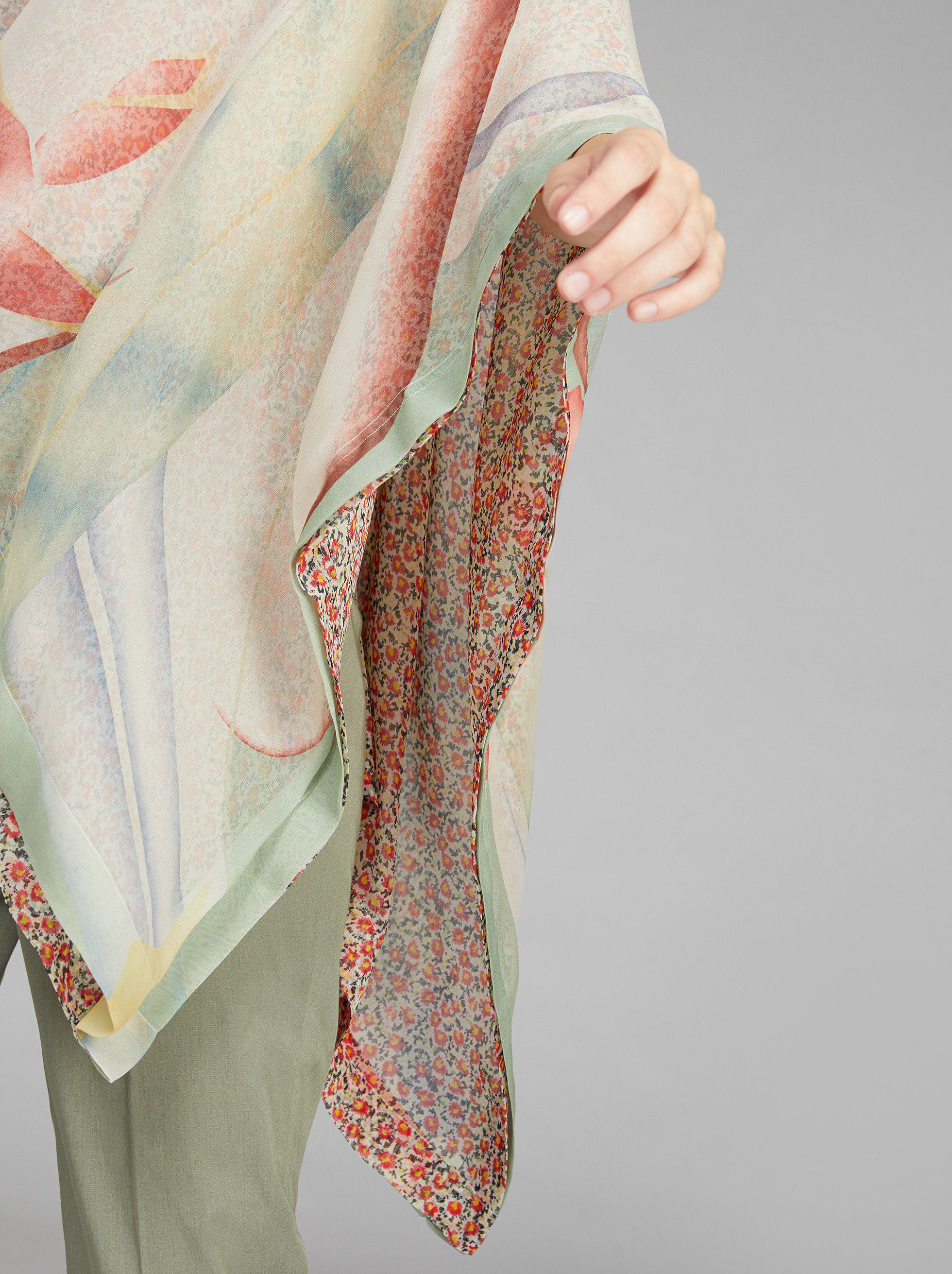 DOUBLE PRINT SILK PONCHO