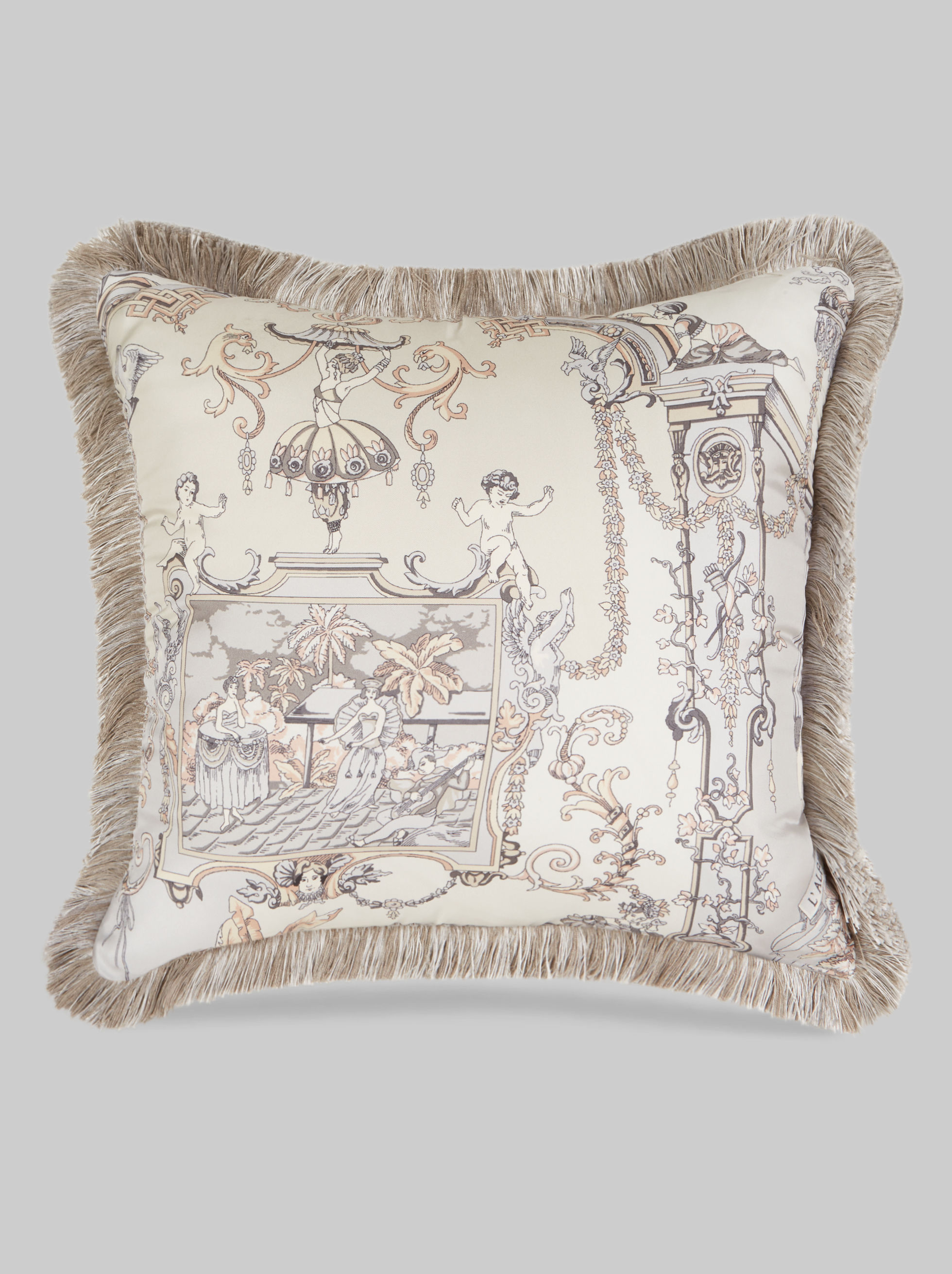 SILK TWILL CUSHION WITH FRINGE