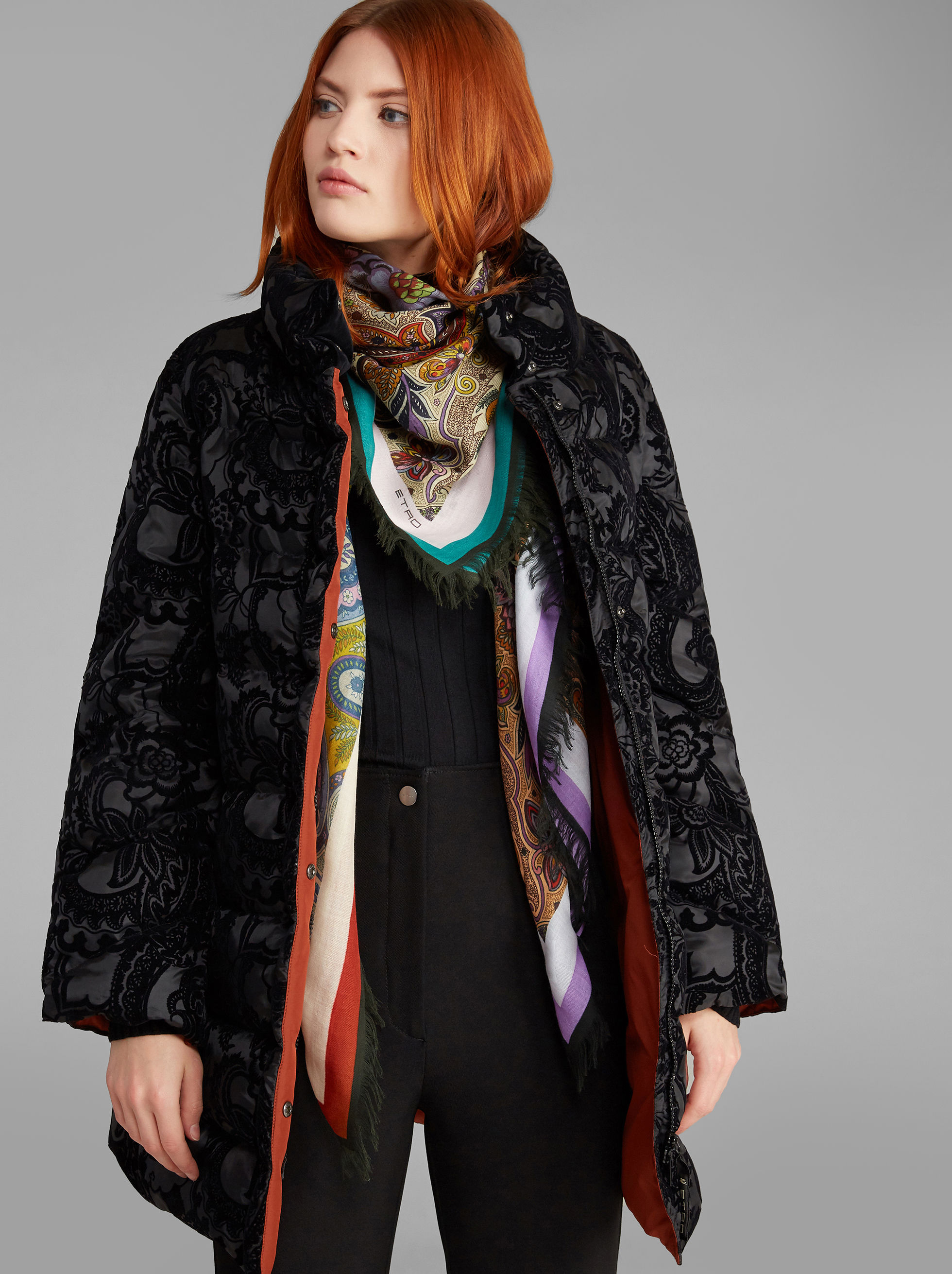 PAISLEY-PRINT DOWN JACKET