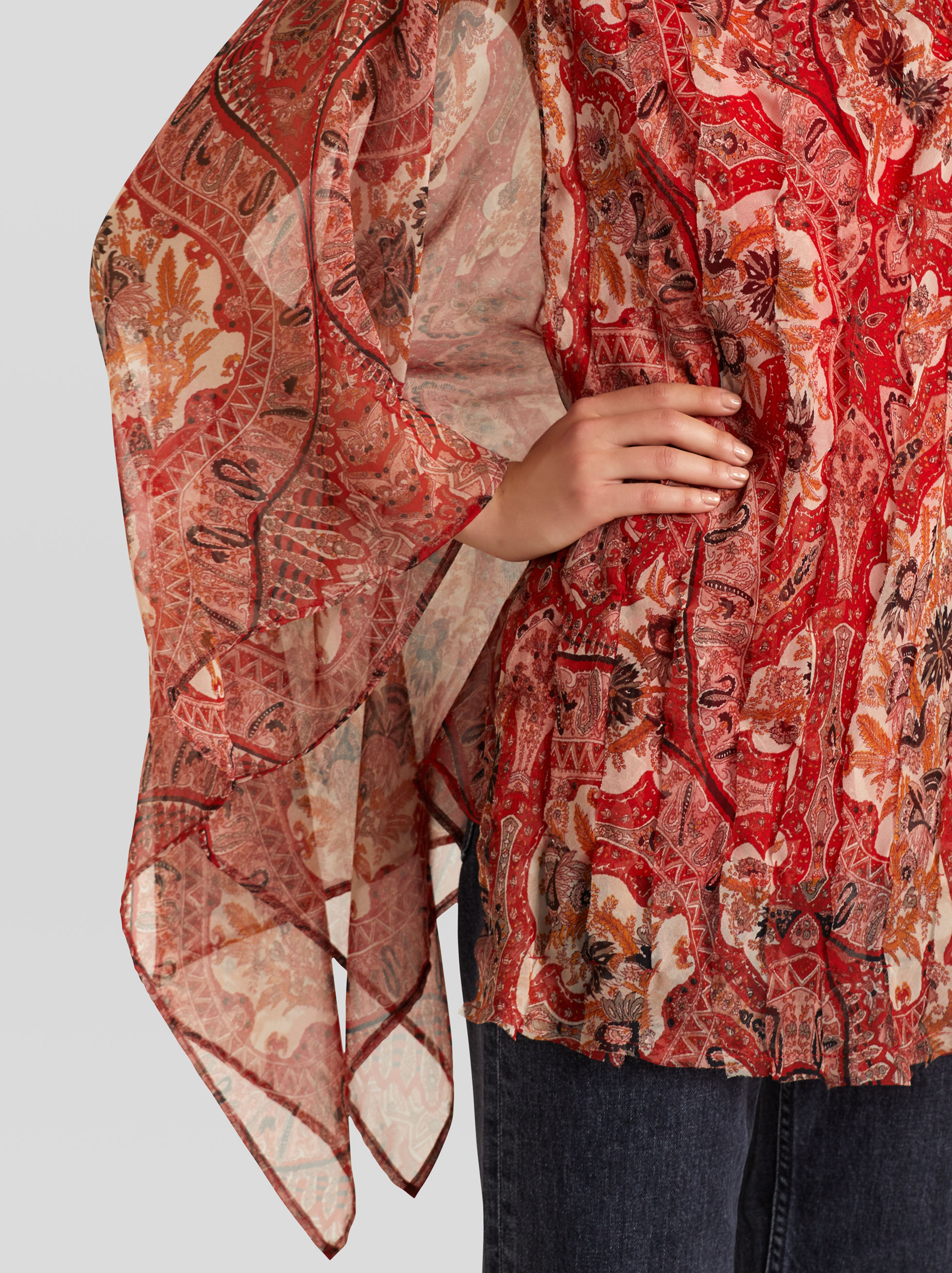 SILK PONCHO WITH PAISLEY PRINT