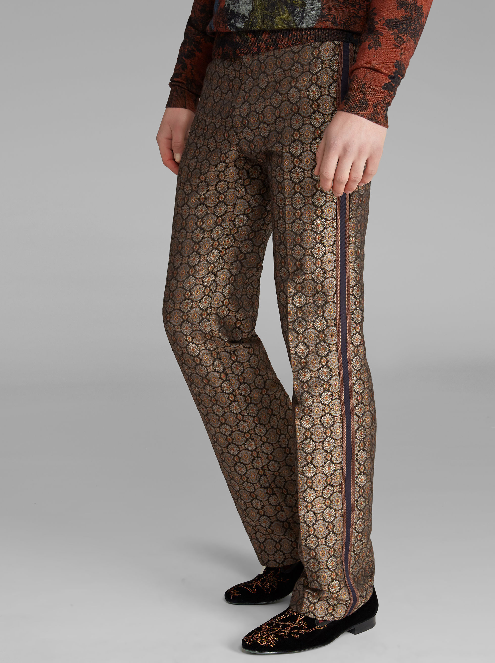 JACQUARD TROUSERS WITH SIDE BAND