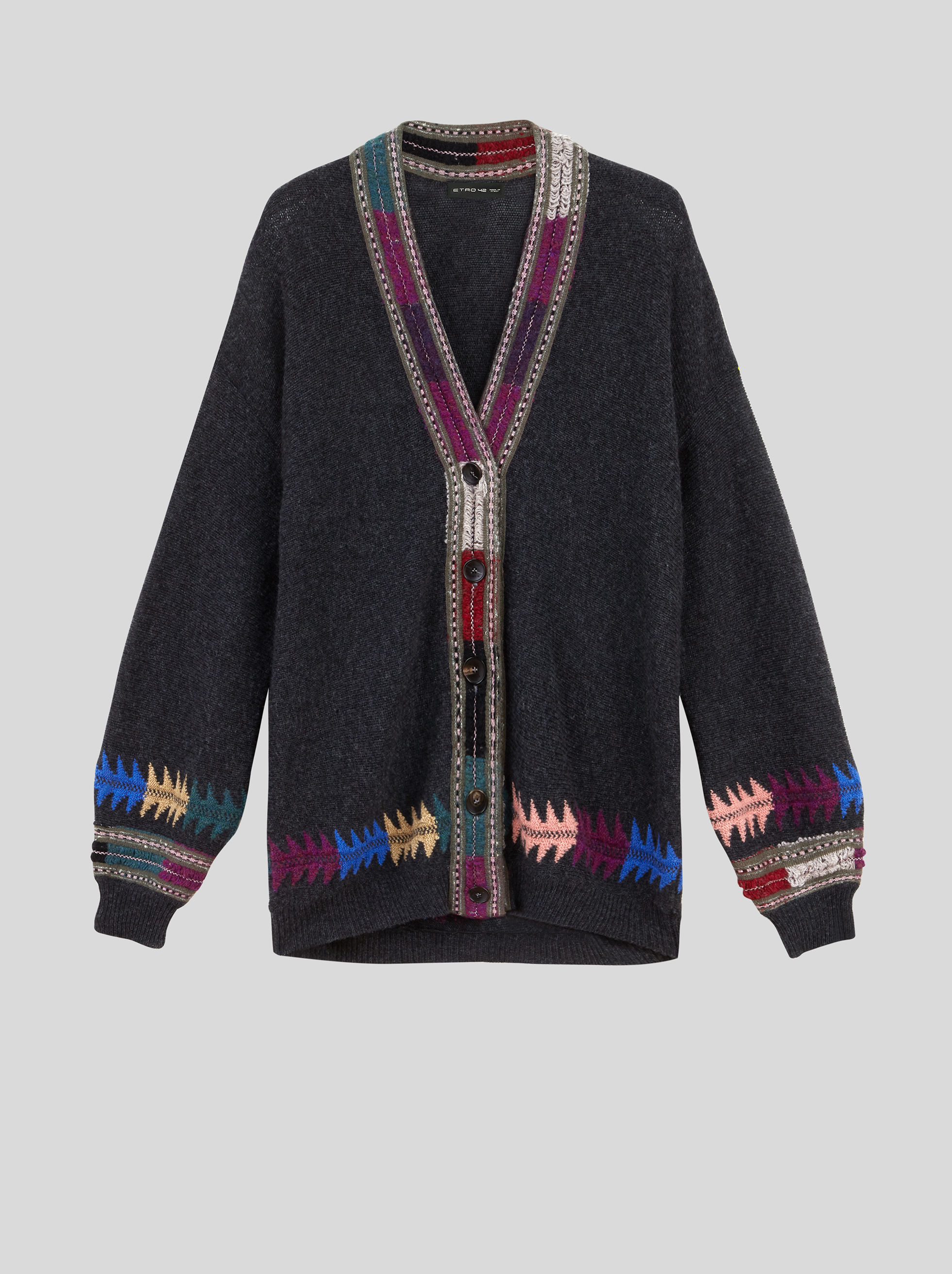 WOOL CARDIGAN WITH INLAY