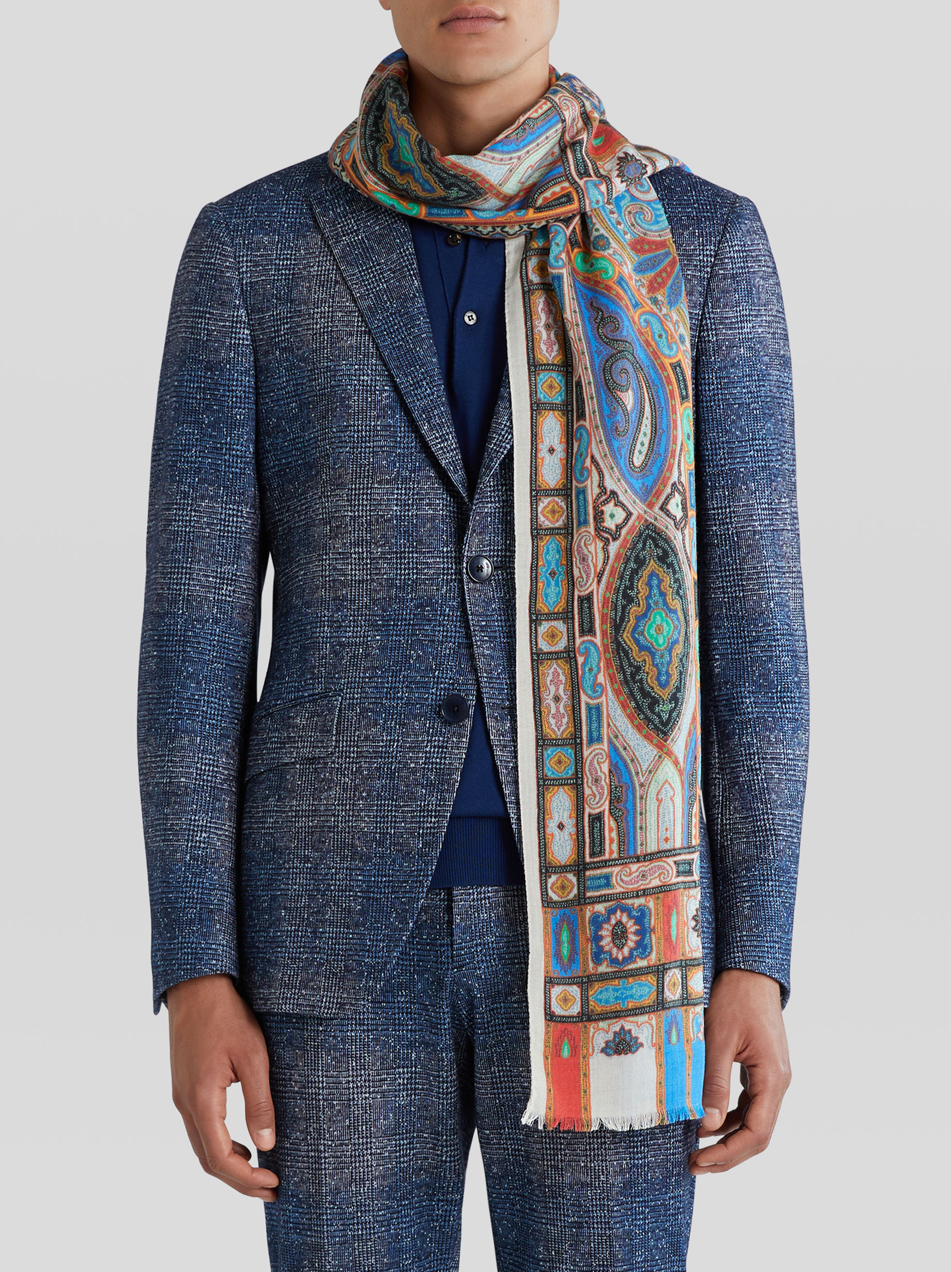 WOOL AND SILK PAISLEY SCARF