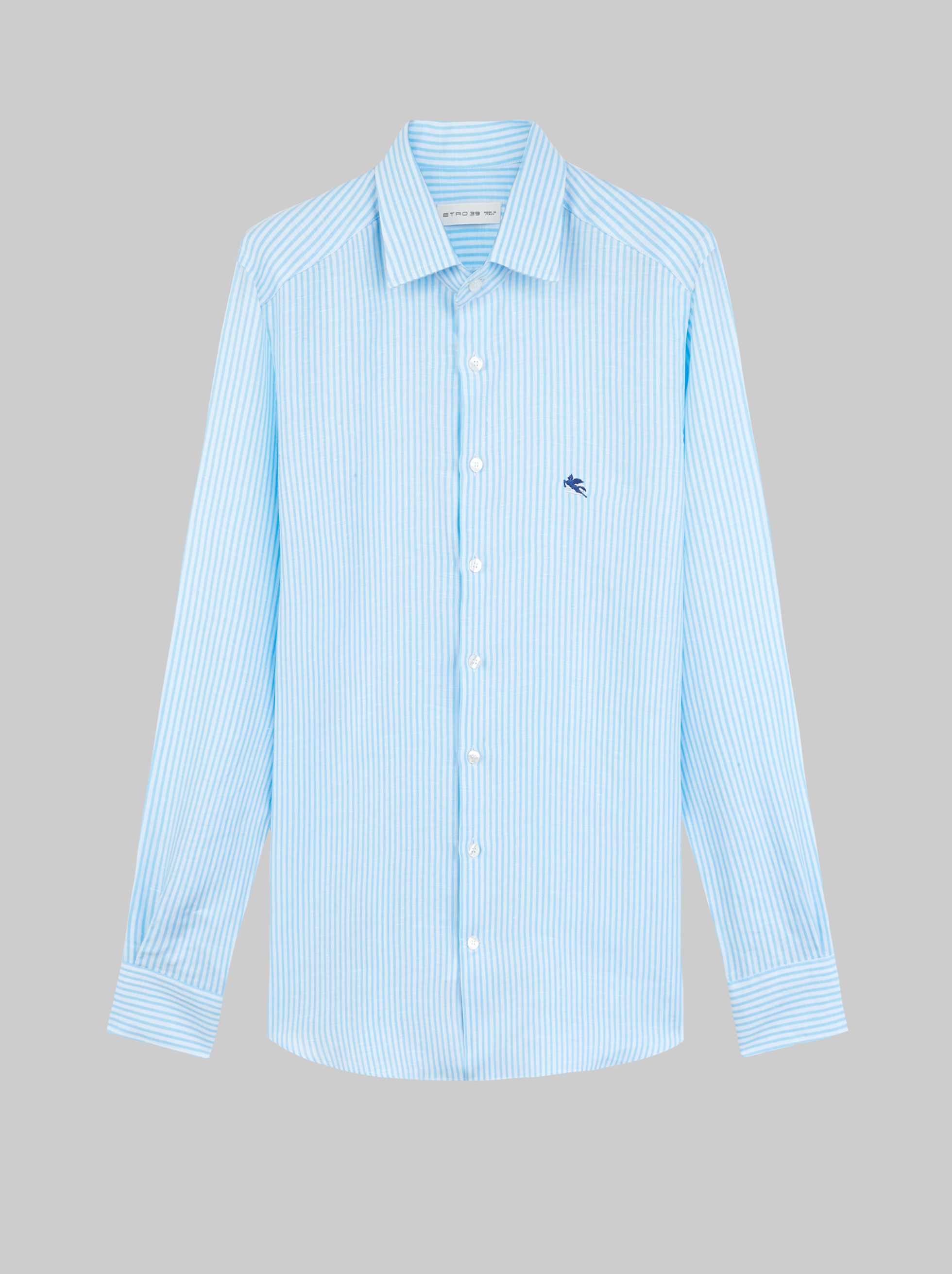 STRIPED LINEN SHIRT WITH PEGASO EMBROIDERY