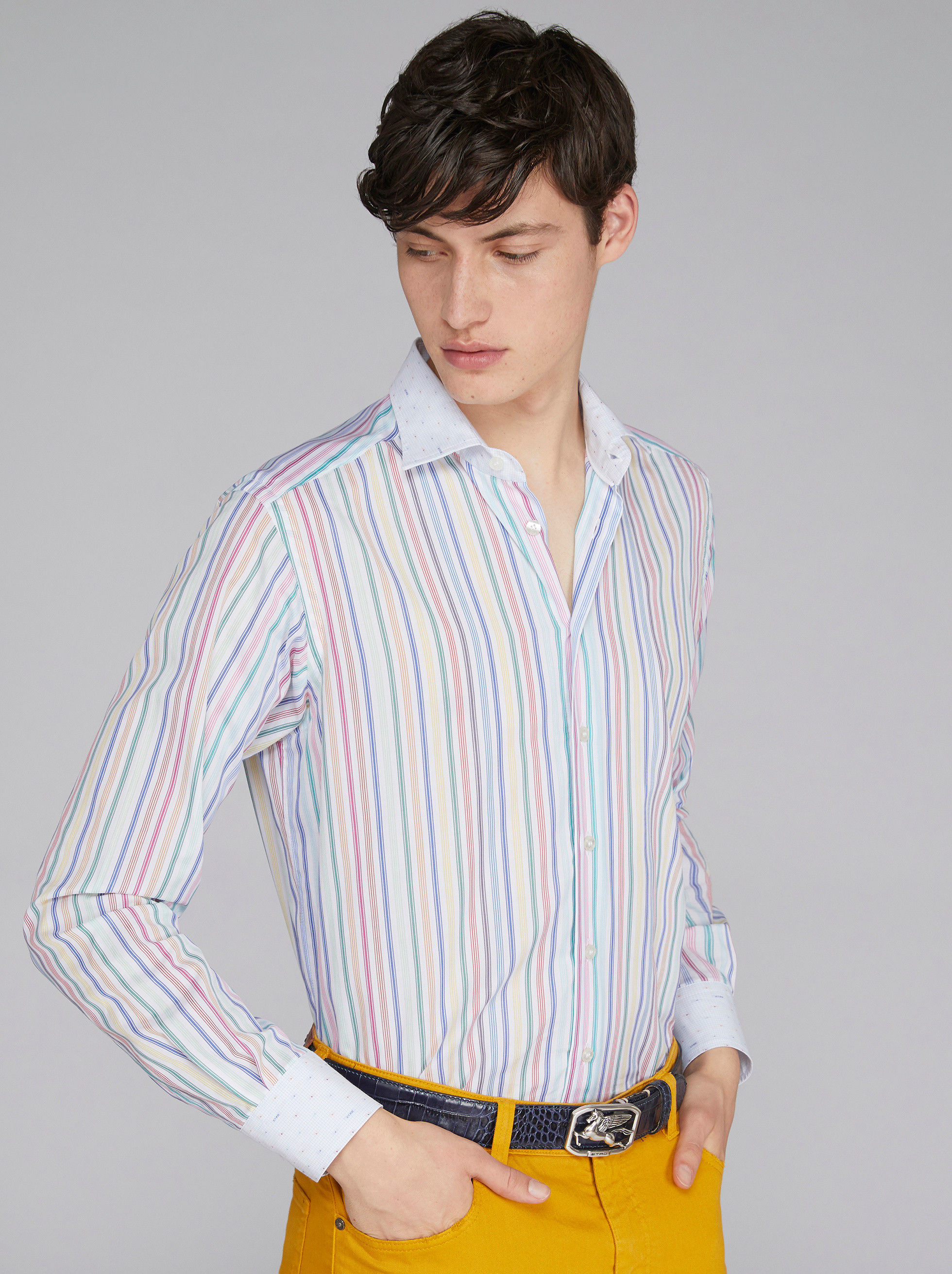 STRIPED DUAL FABRIC SHIRT