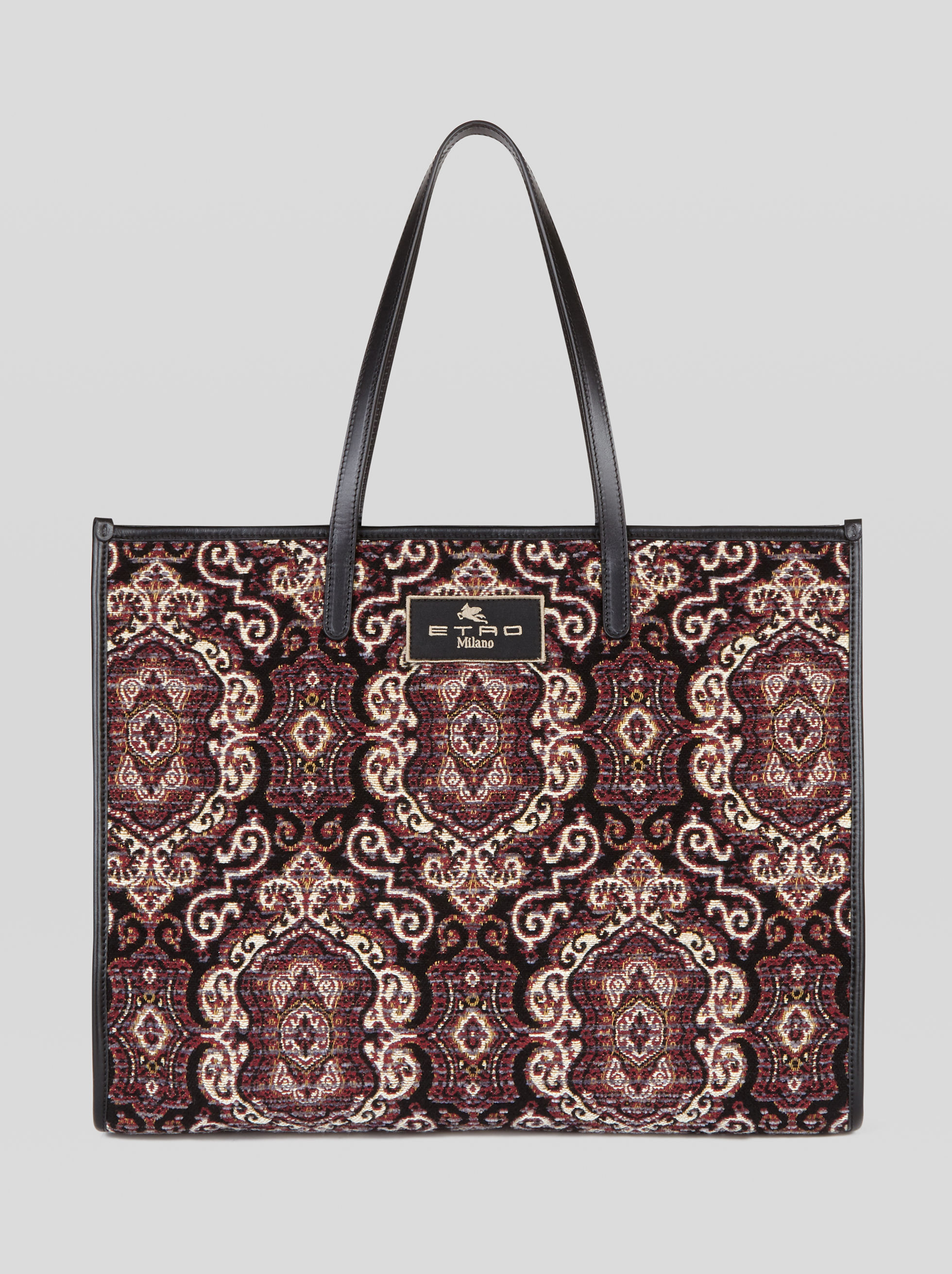 LARGE JACQUARD FABRIC SHOPPING BAG