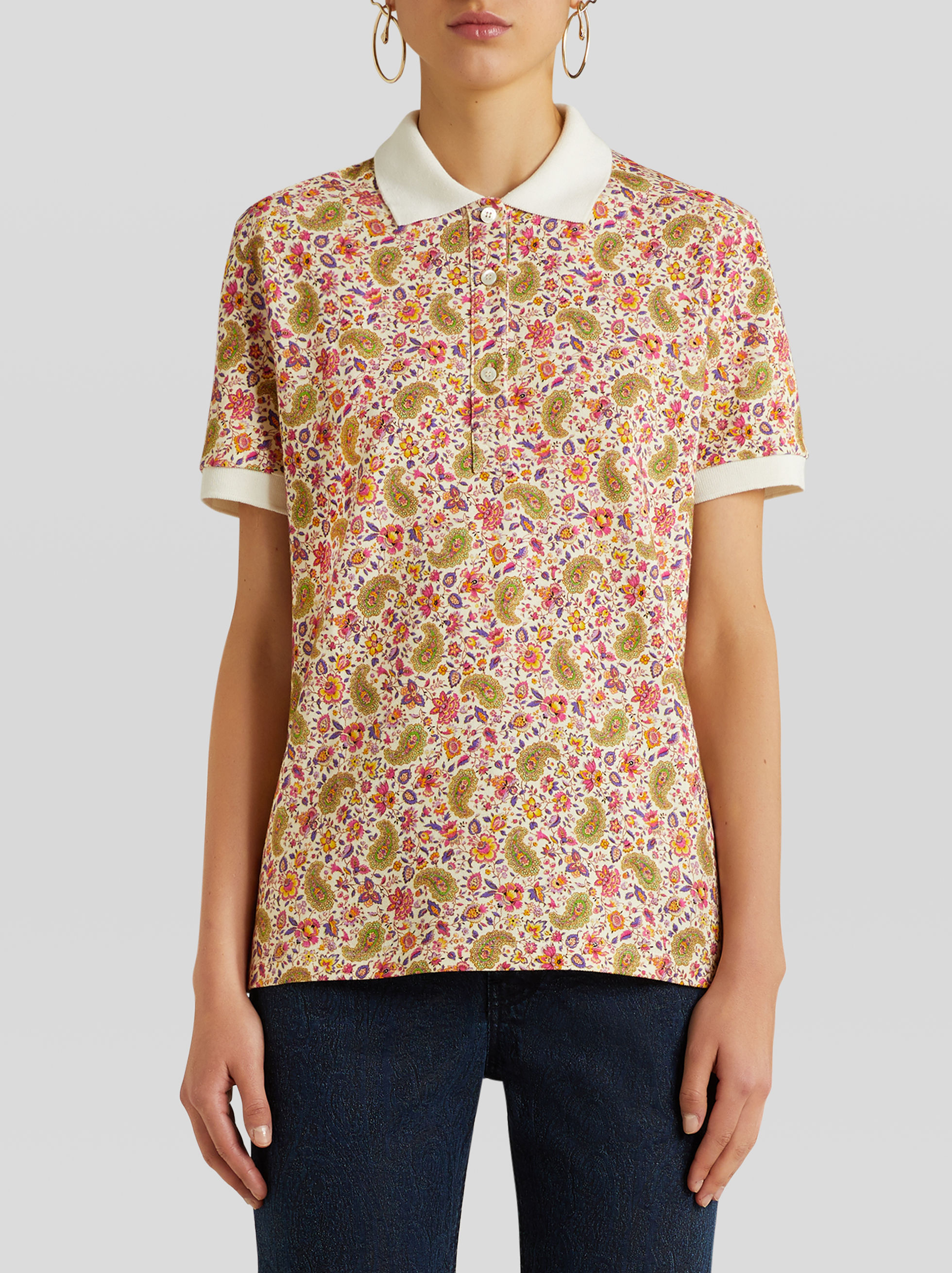 FLORAL COTTON JERSEY POLO SHIRT