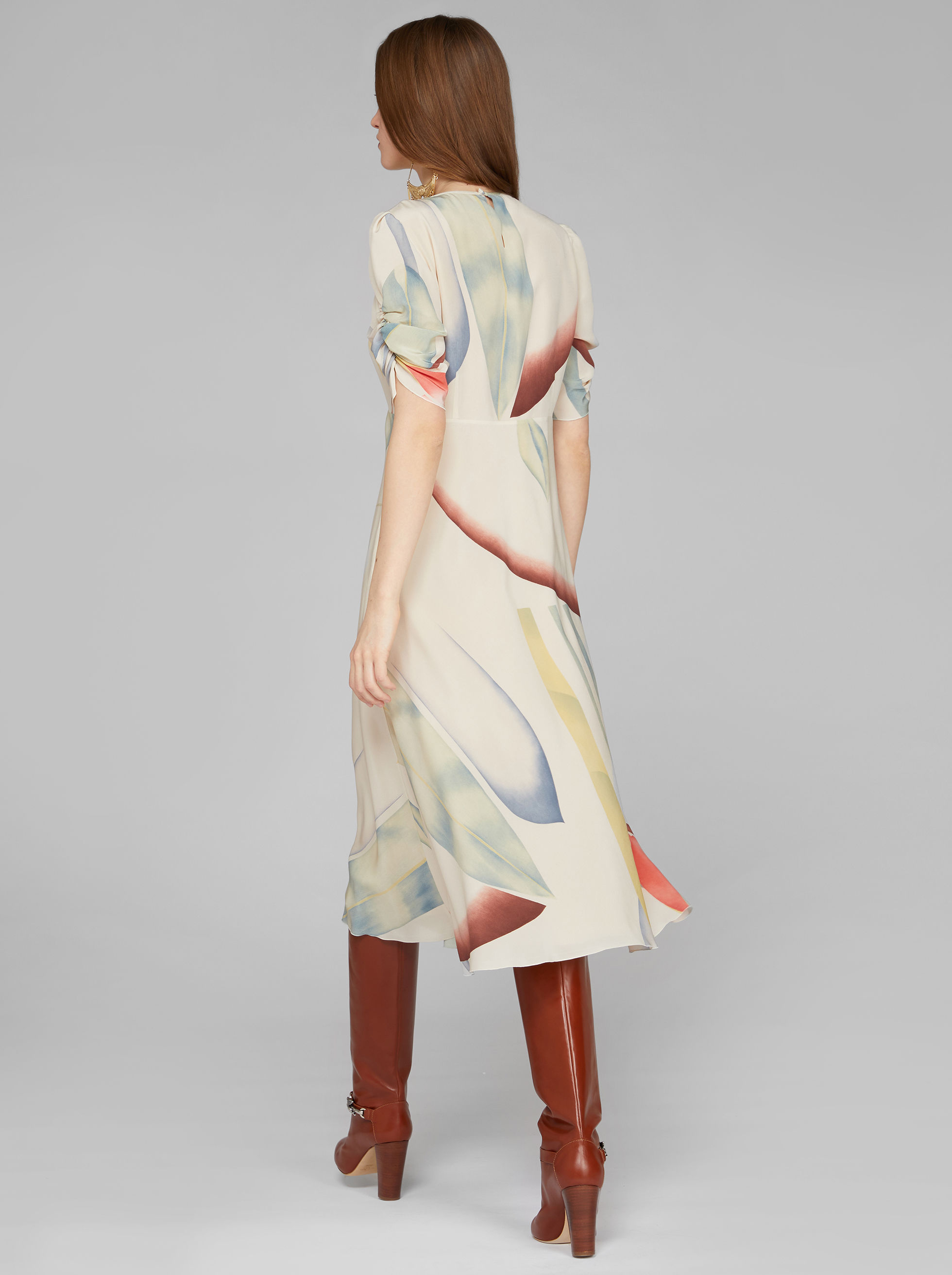 SILK FOLIAGE PRINT DRESS