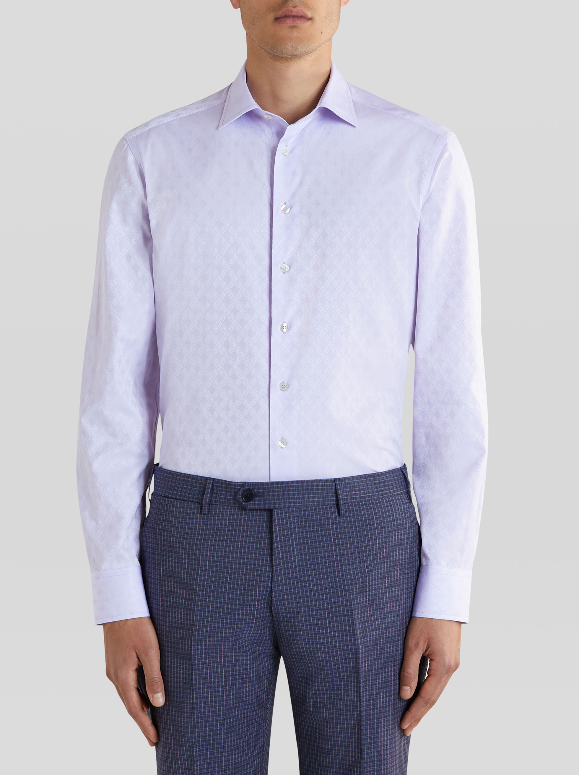 COTTON JACQUARD SHIRT WITH LOGO