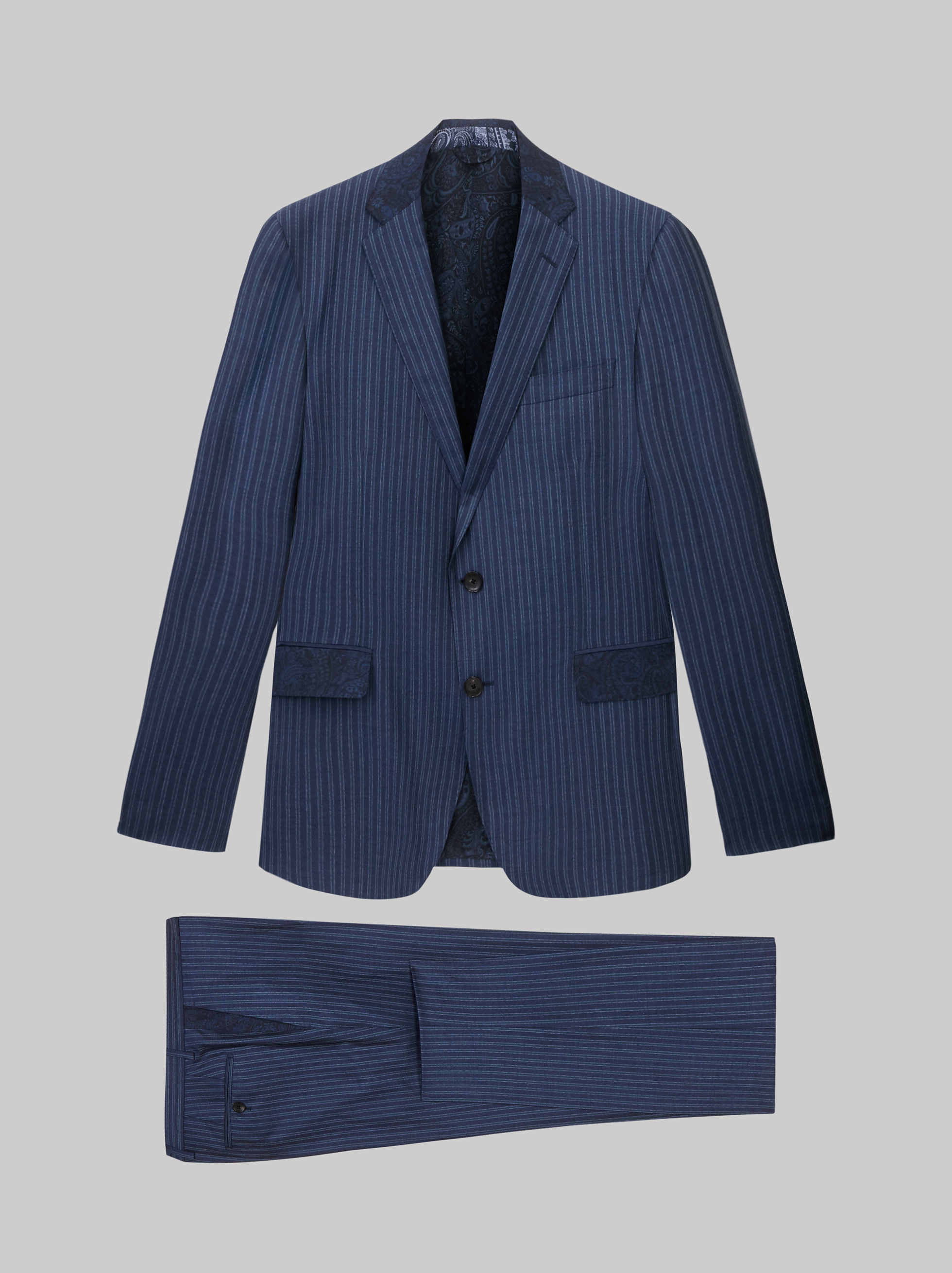 PINSTRIPE SUIT WITH PAISLEY DETAILS
