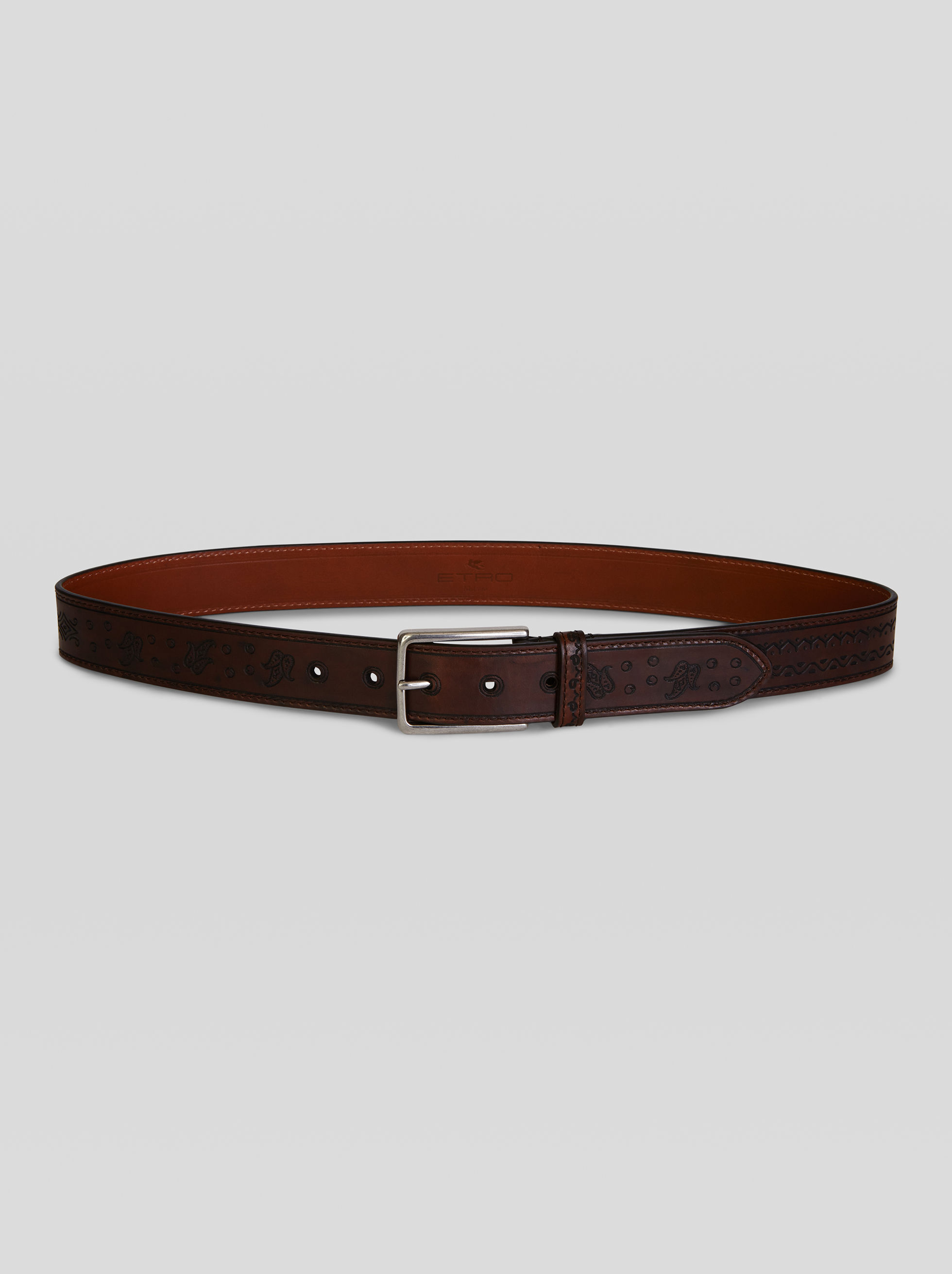PAISLEY PRINT LEATHER BELT