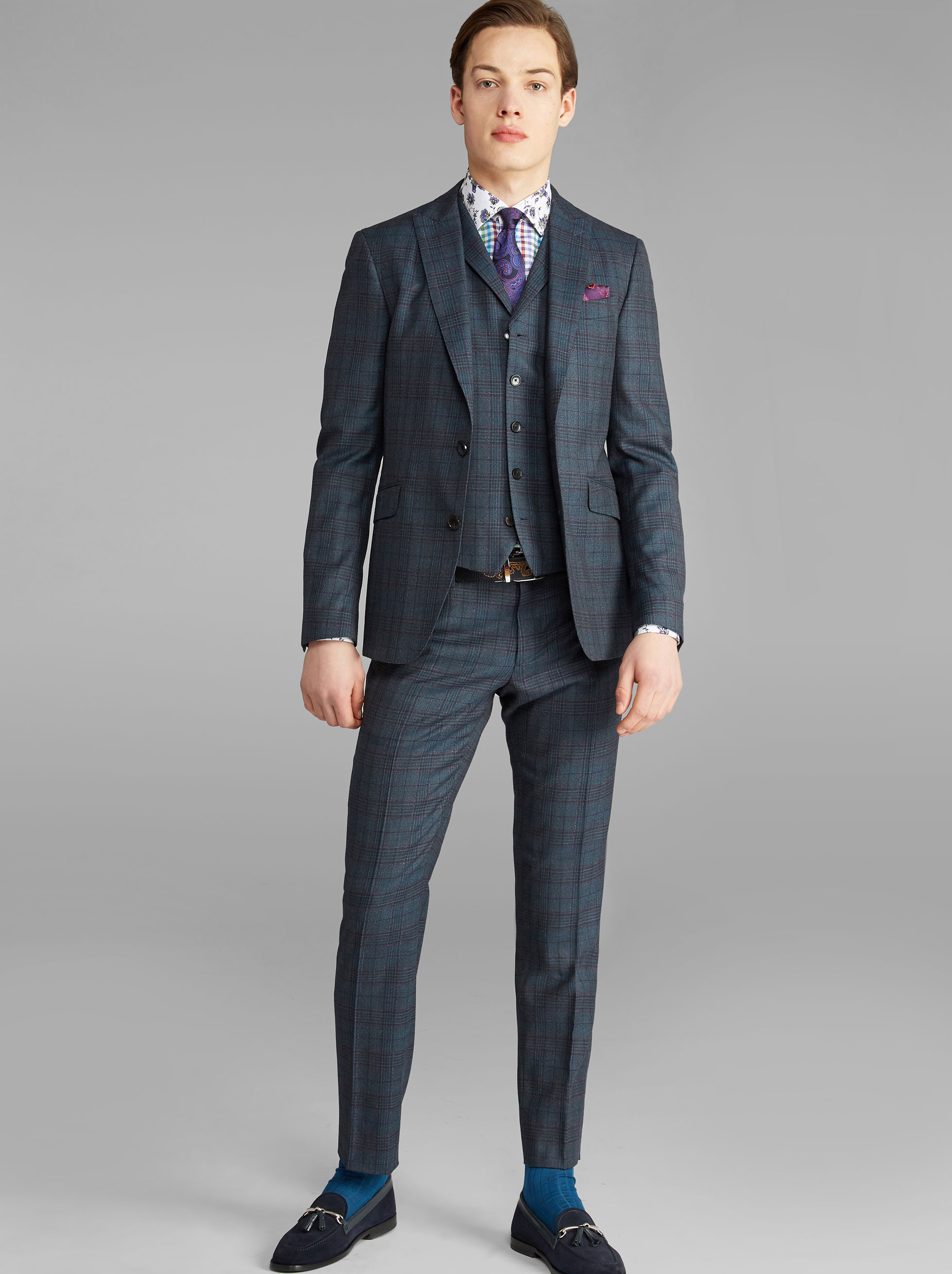 CHECK THREE-PIECE SUIT