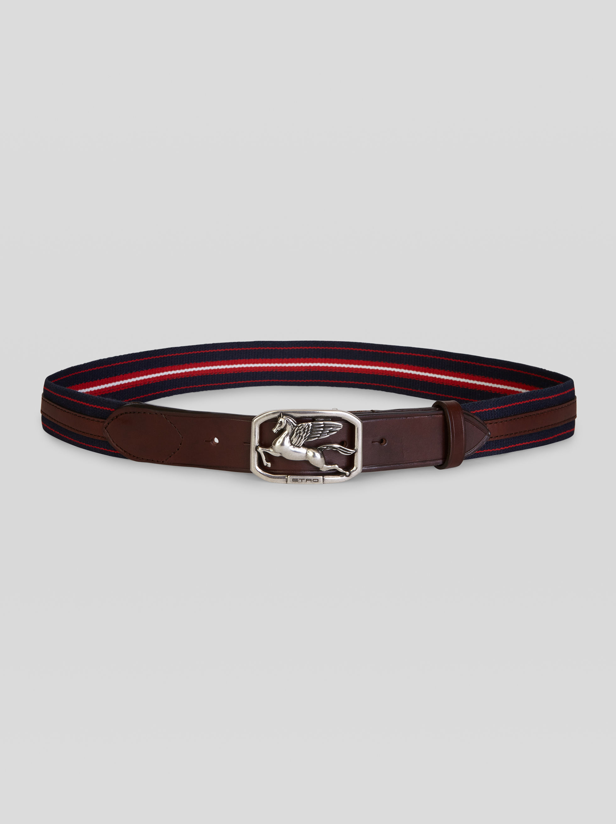 FABRIC BELT WITH LEATHER DETAILS