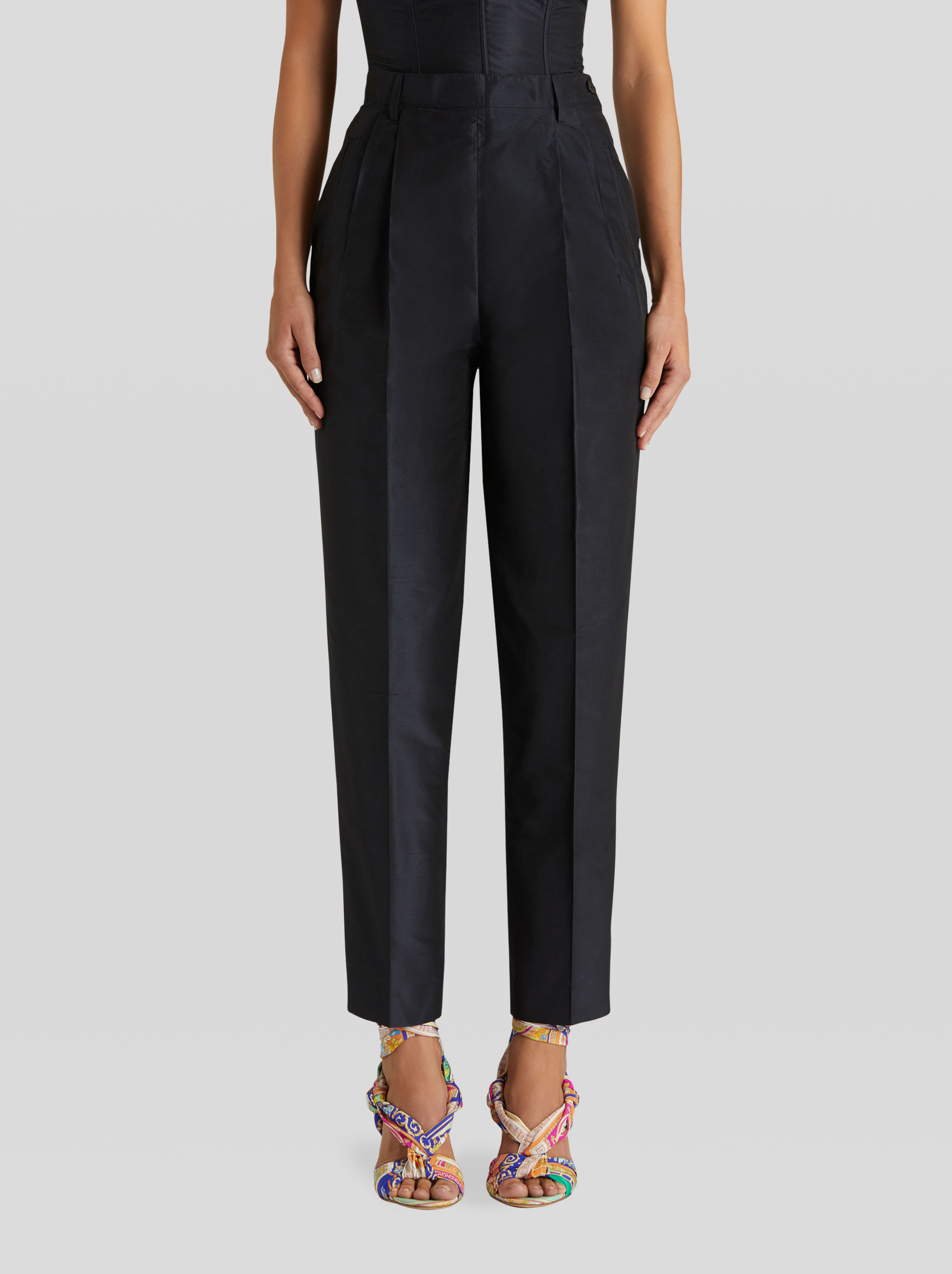 SILK TAFFETA TAILORED TROUSERS