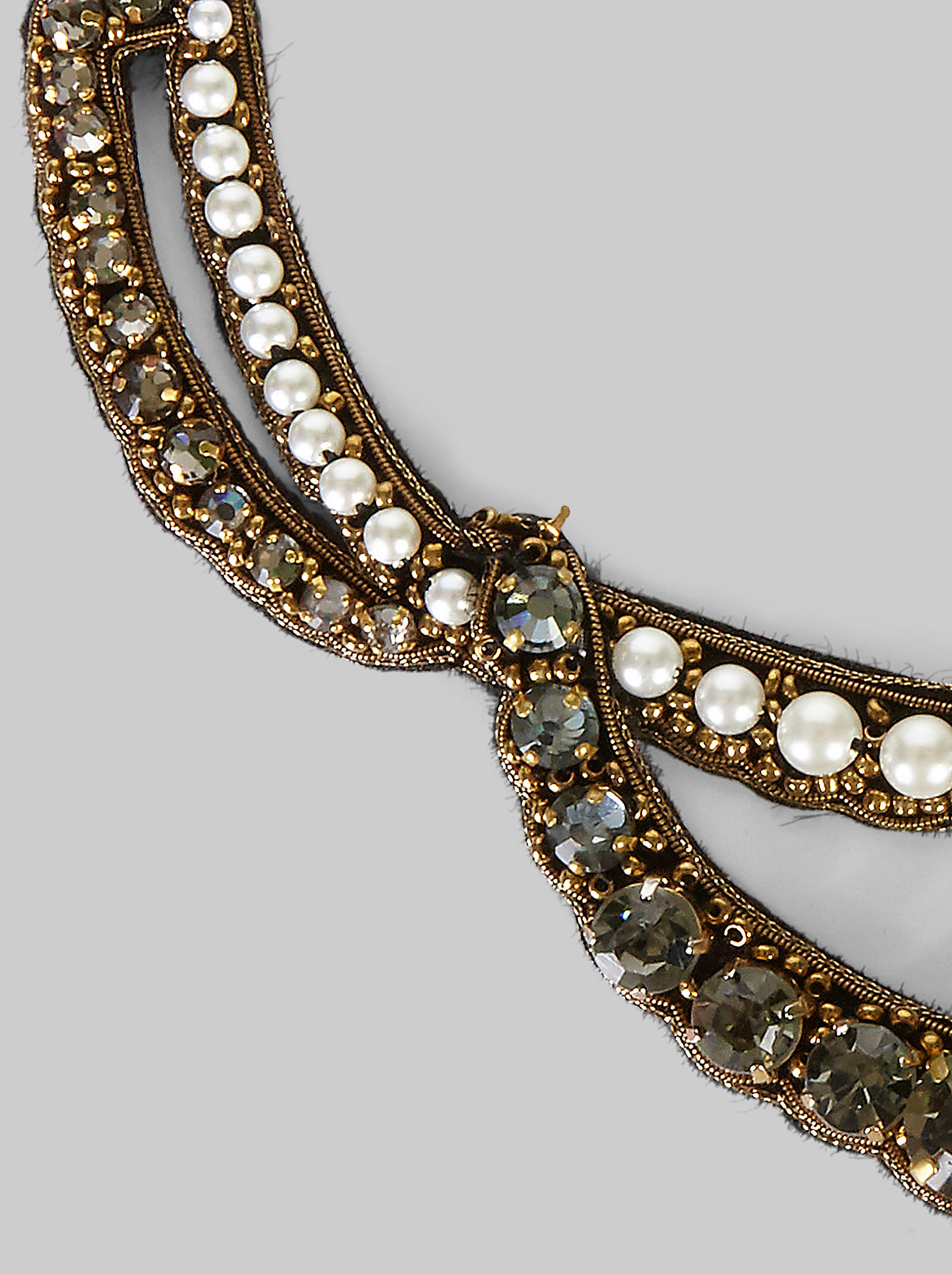 NECKLACE WITH PEARLS AND RHINESTONES