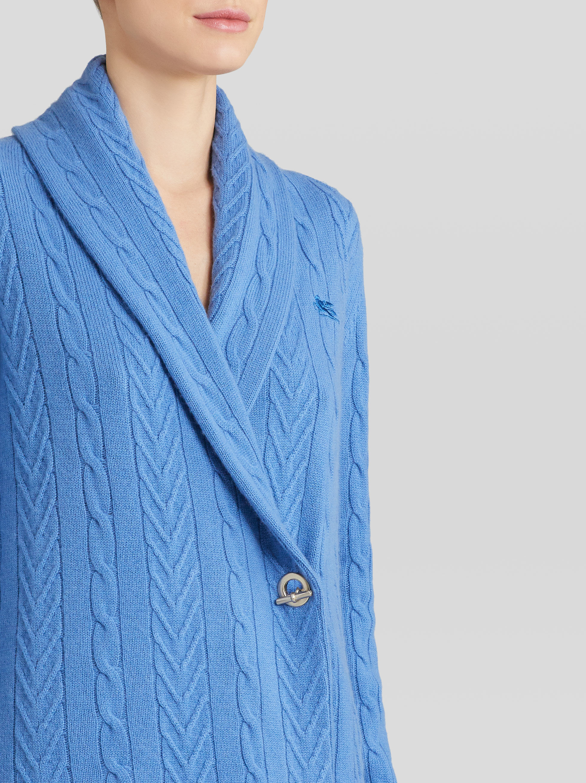 CARDIGAN WITH CABLE AND CHEVRON PATTERN
