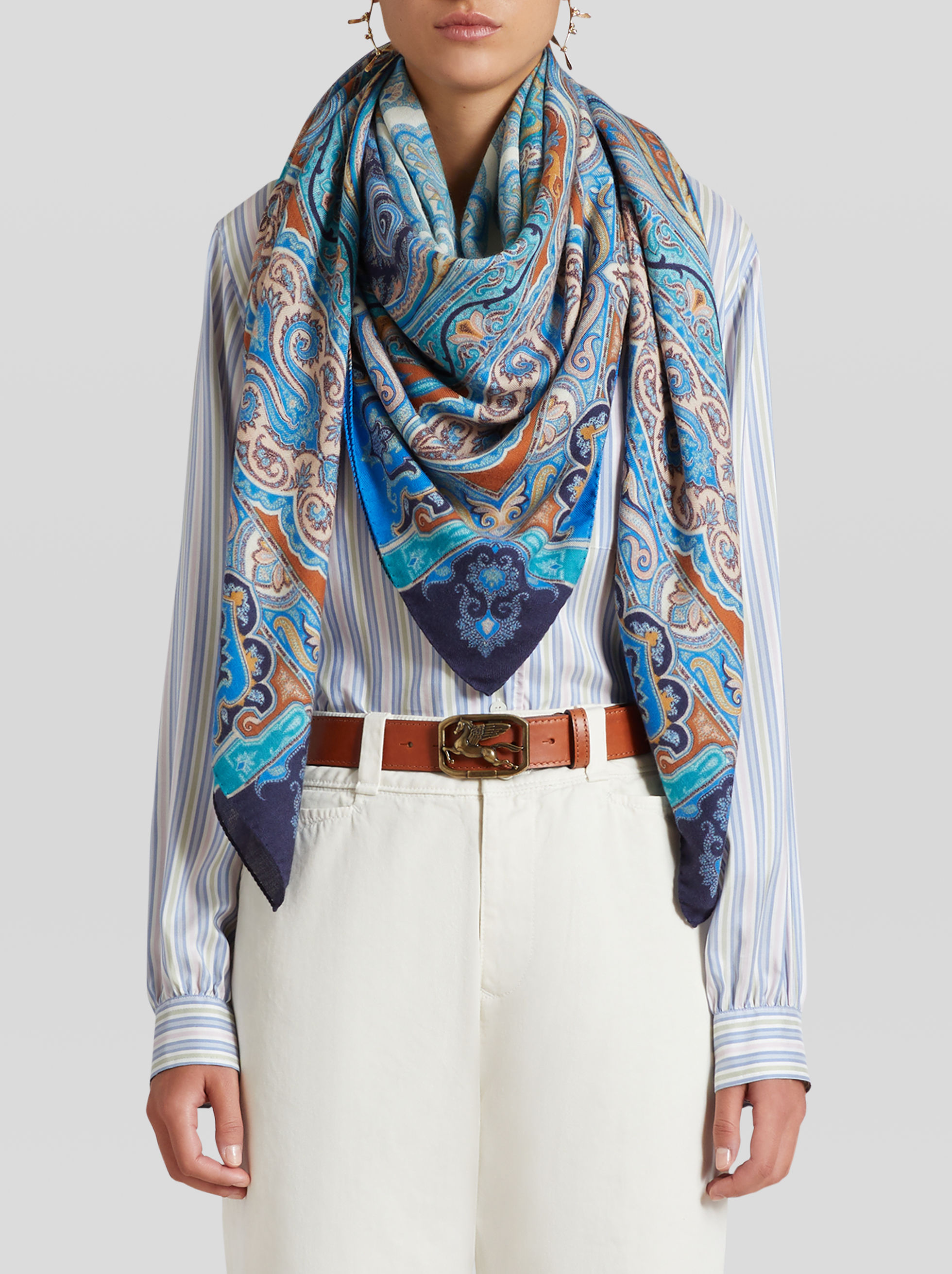 PAISLEY PRINT CASHMERE AND SILK SHAWL