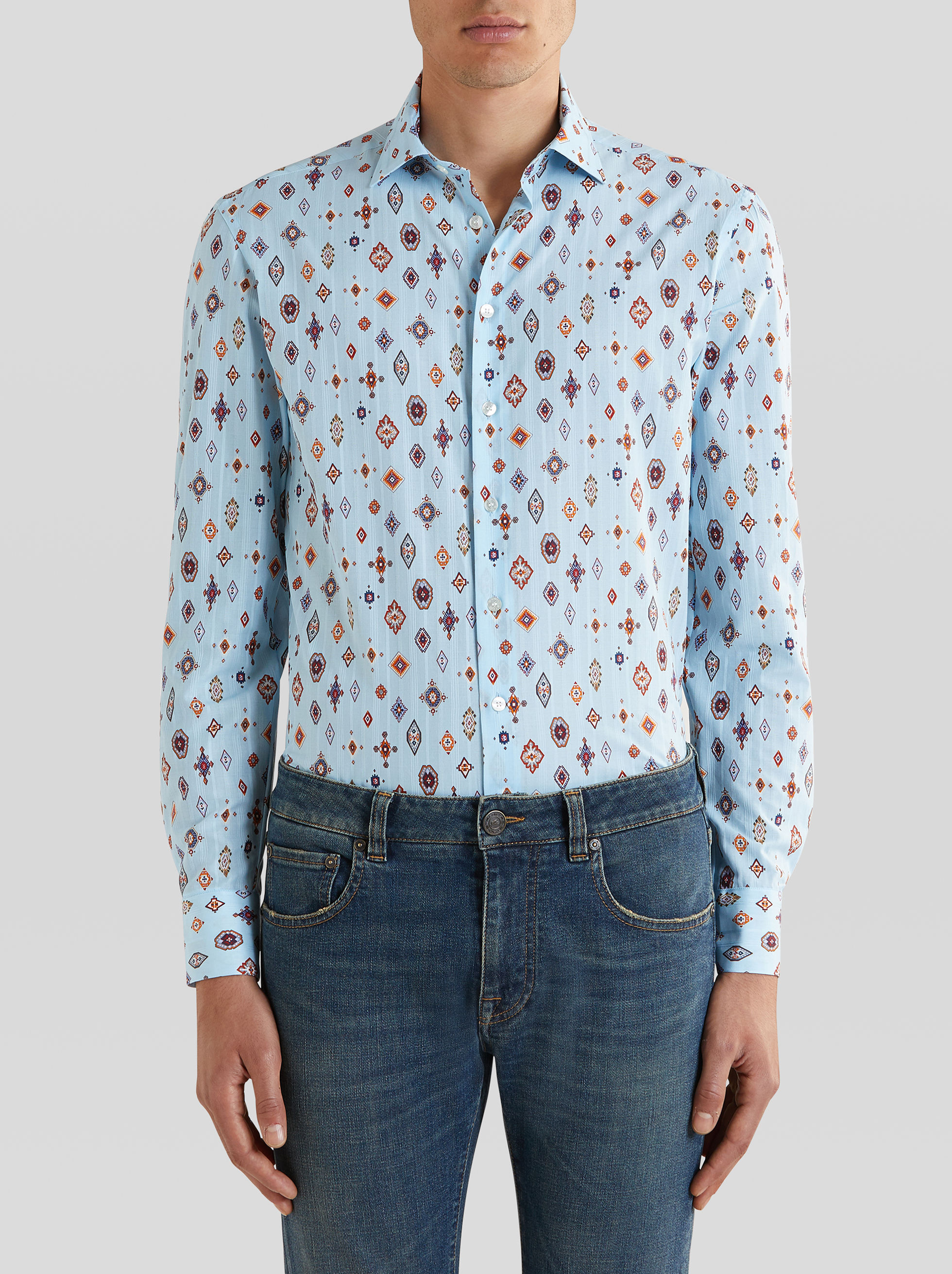 COTTON SHIRT WITH GEOMETRIC PRINT