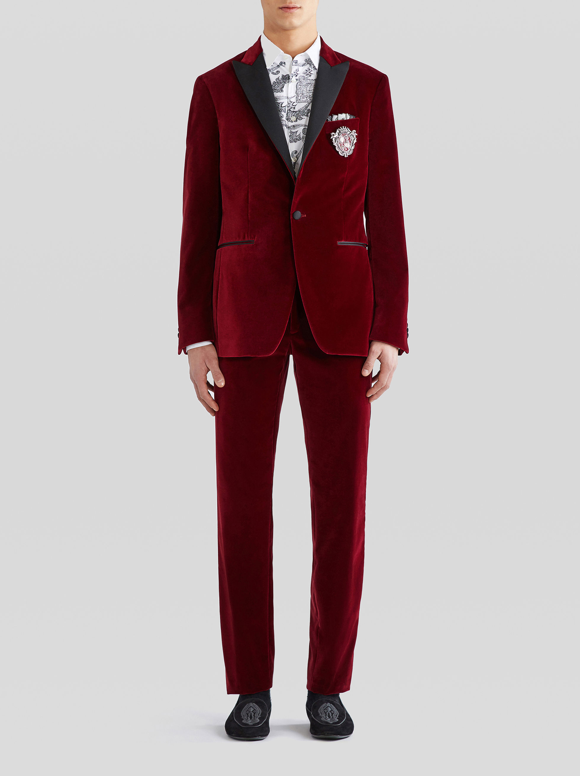 VELVET TAILORED JACKET WITH CONTRASTING LAPELS