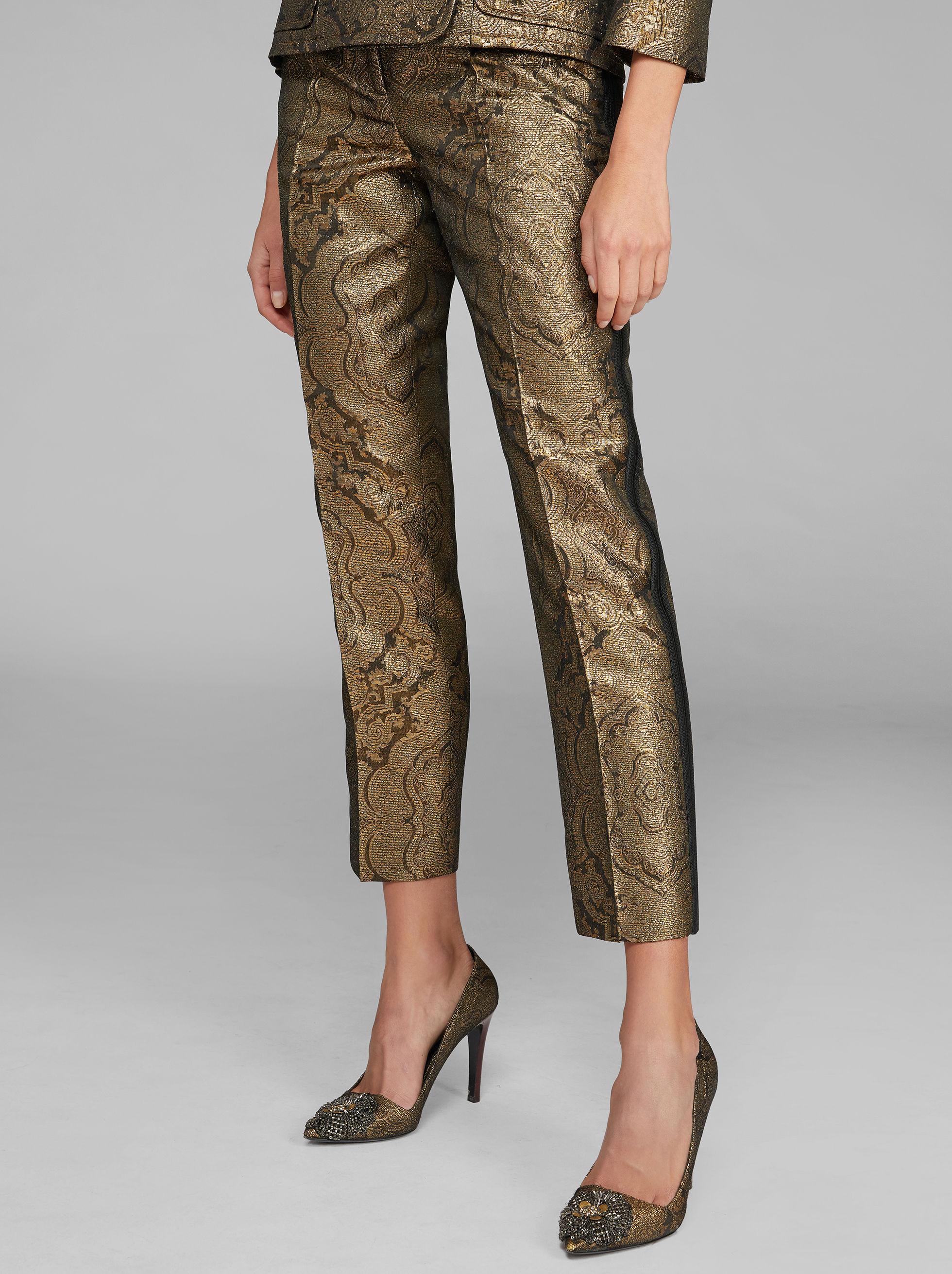JACQUARD EMBROIDERED TROUSERS