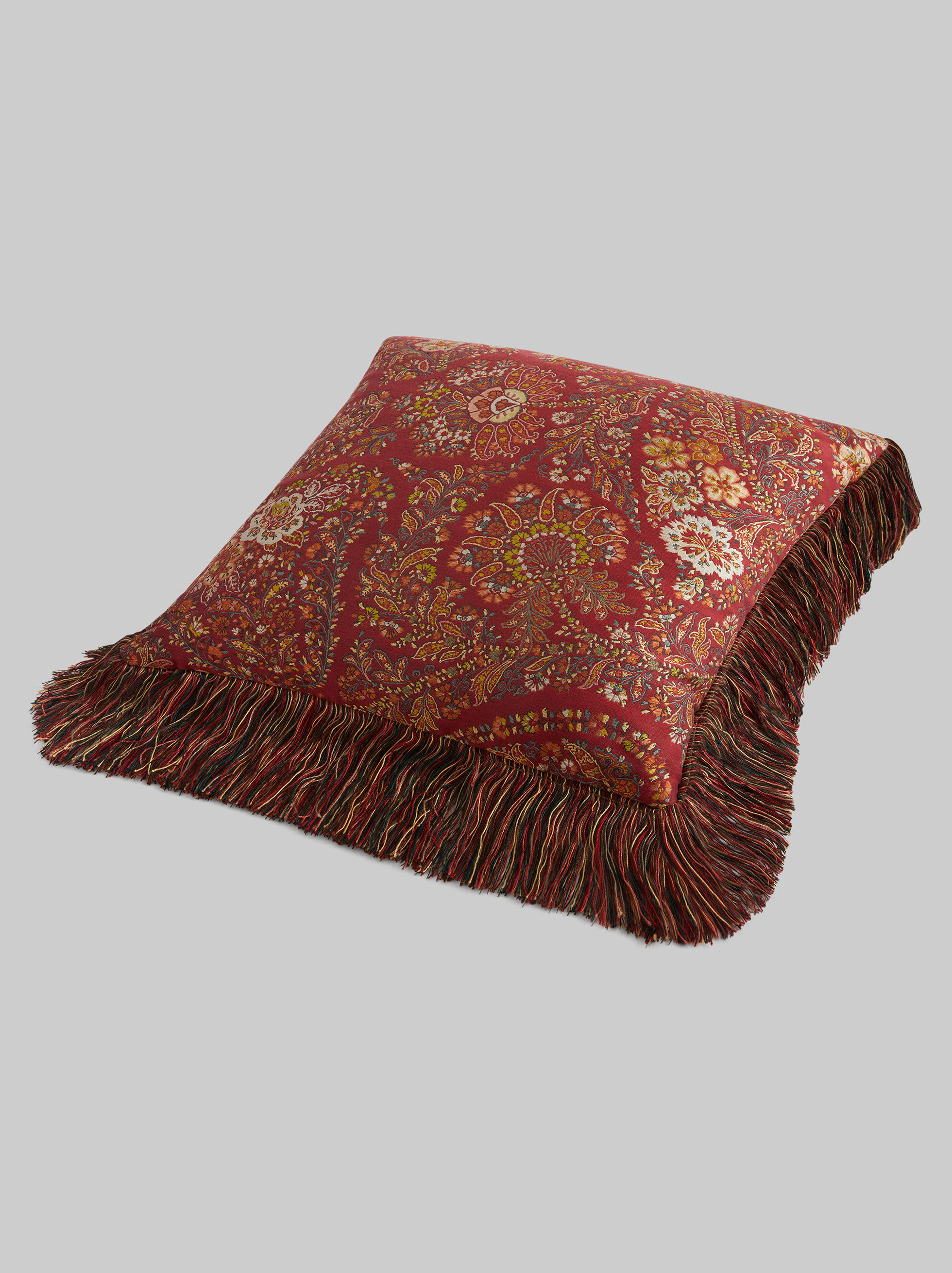 JACQUARD THROW PILLOW WITH FRINGE DETAILS