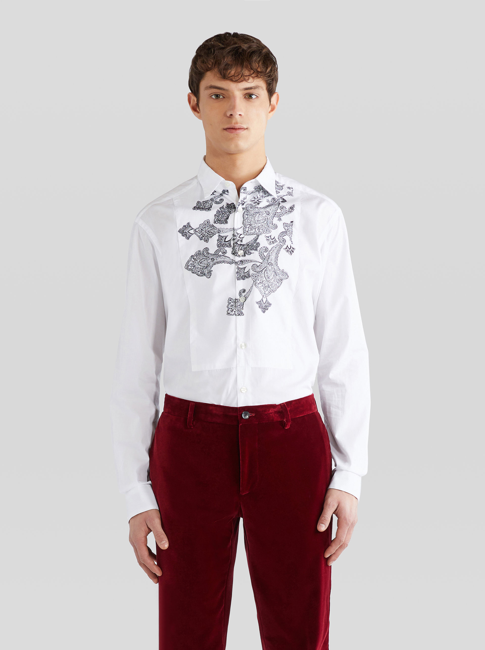 SHIRT WITH EMBROIDERED PLASTRON