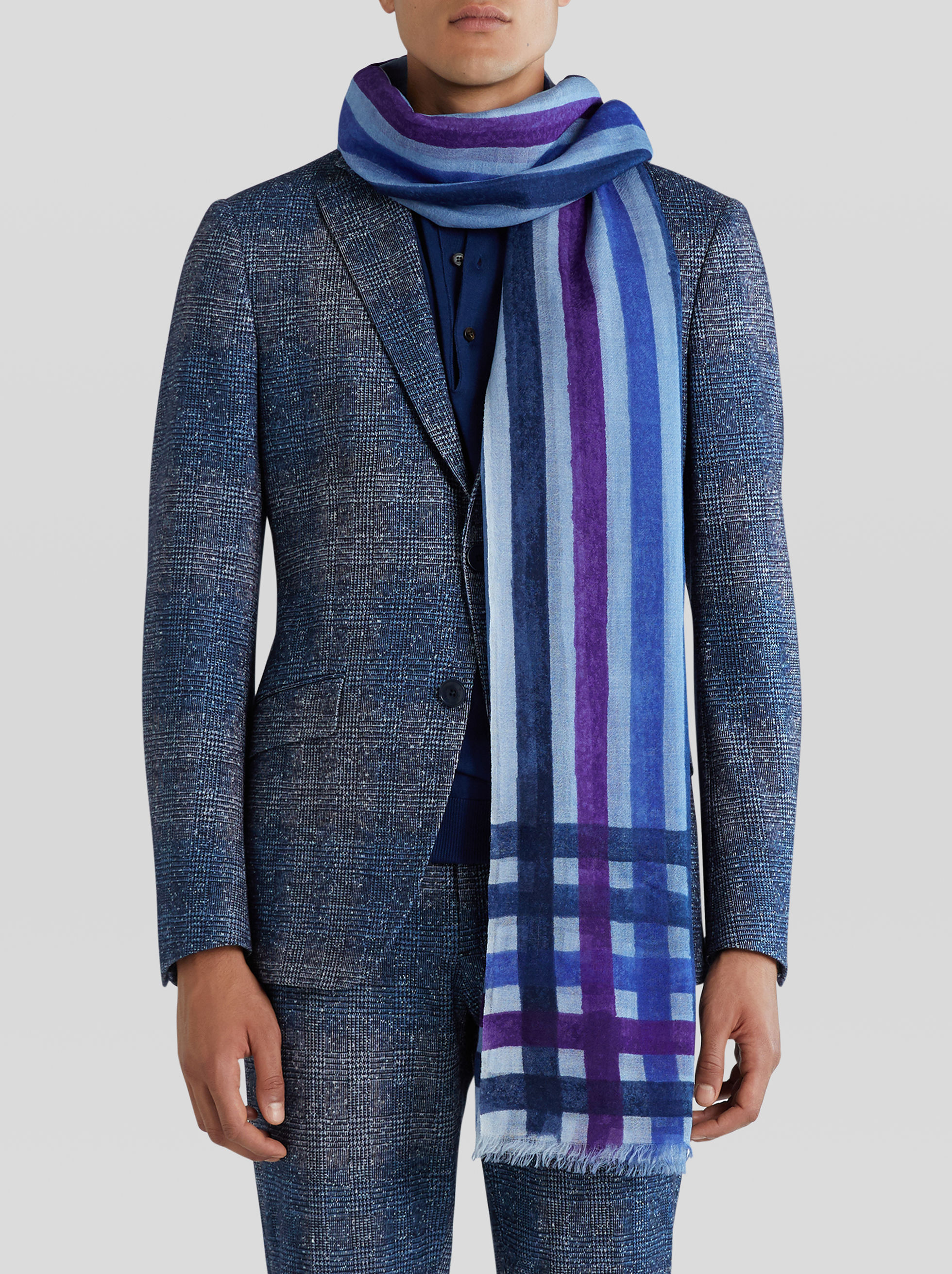 JACQUARD SCARF WITH MANUAL TECHNICAL PRINT