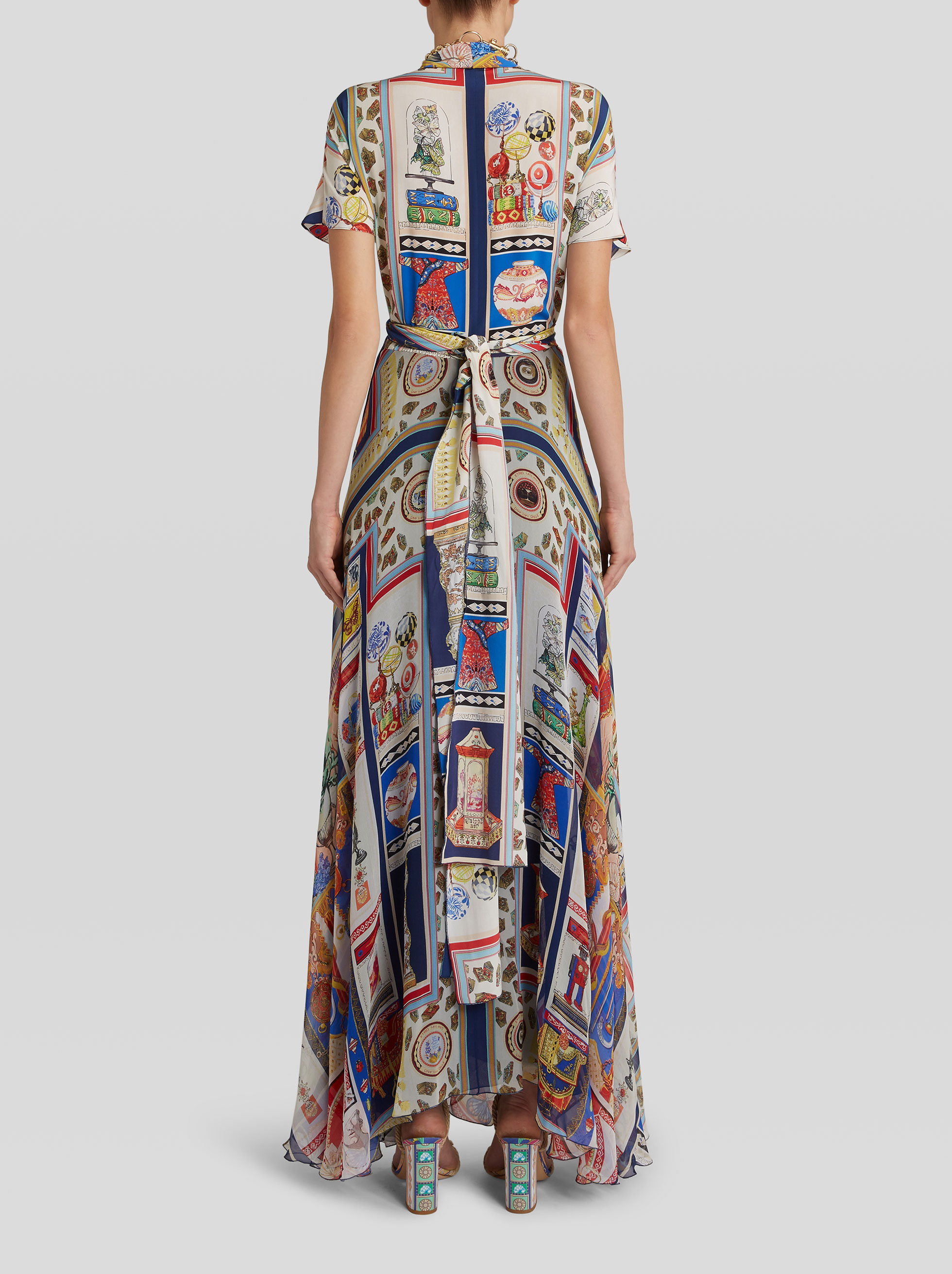 LONG PRINTED SILK DRESS