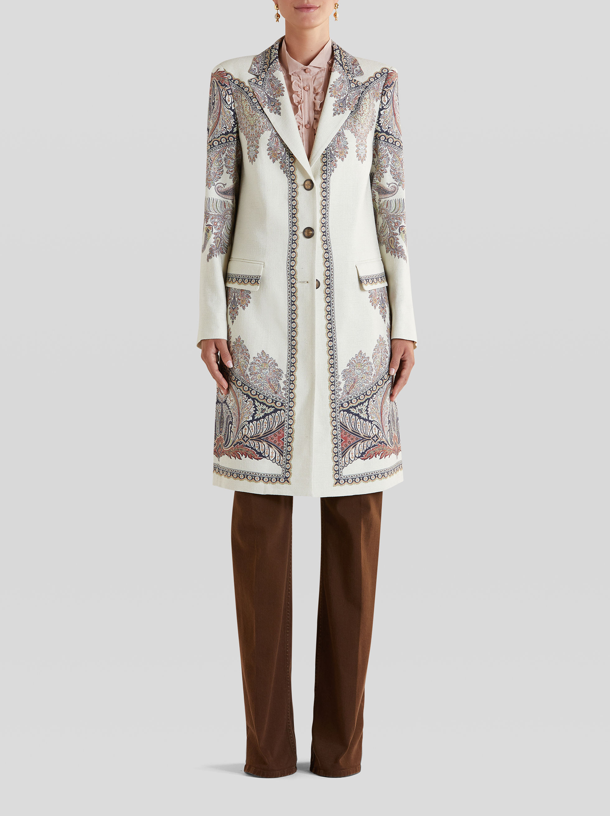 LIGHT FLORAL PAISLEY PRINT COAT