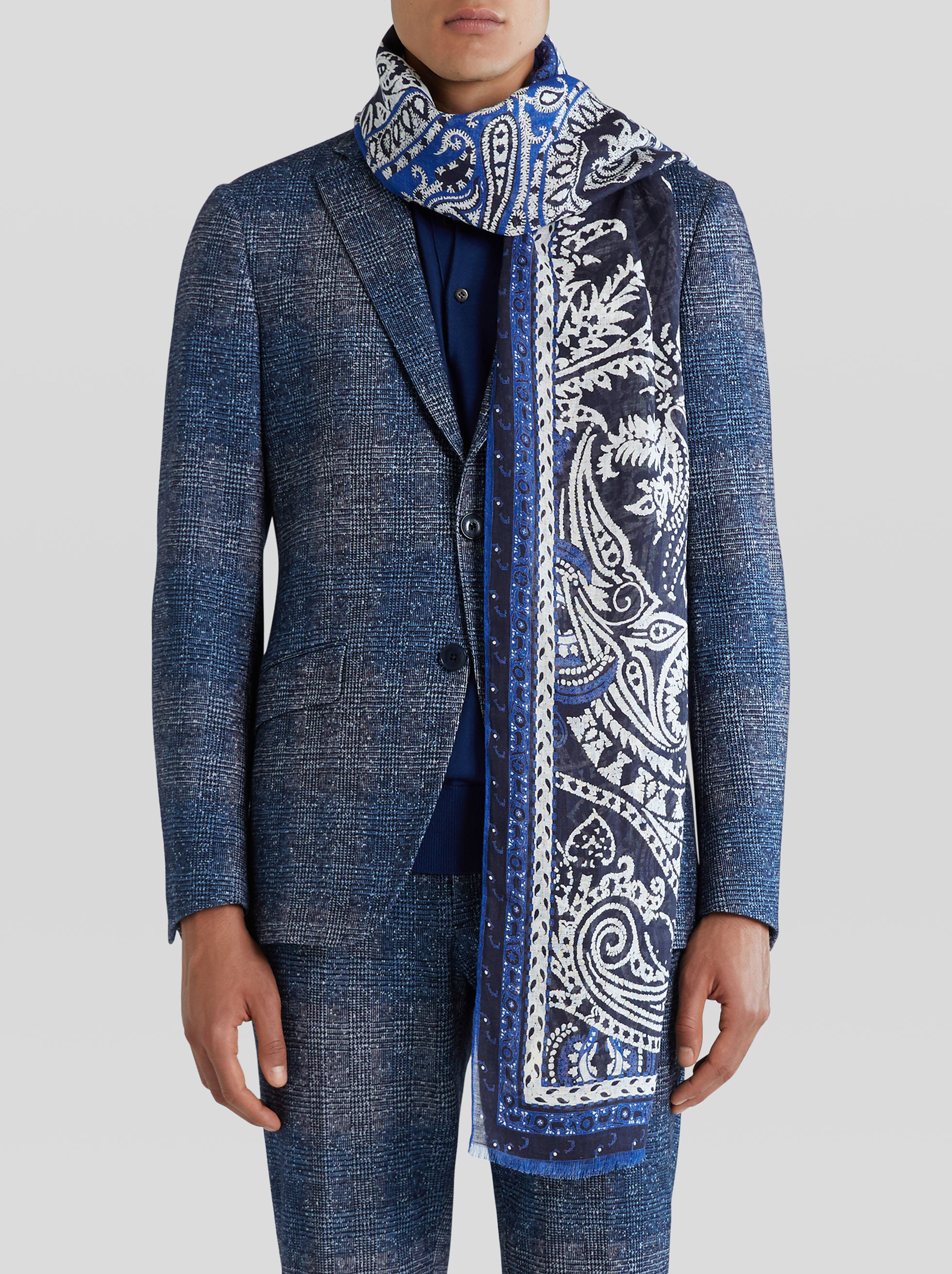 FLORAL PAISLEY LINEN SCARF