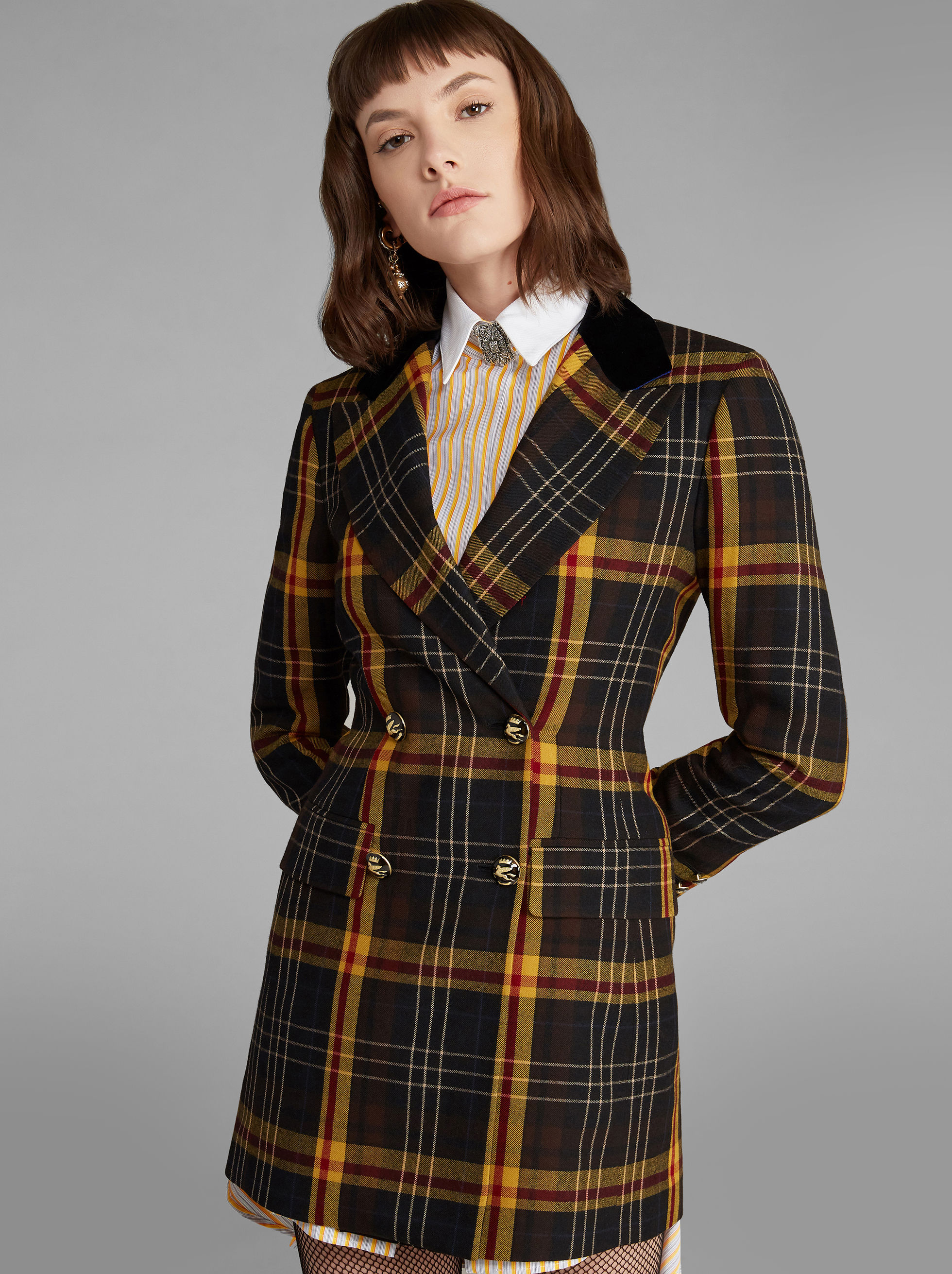 MAXI CHECK DOUBLE-BREASTED JACKET