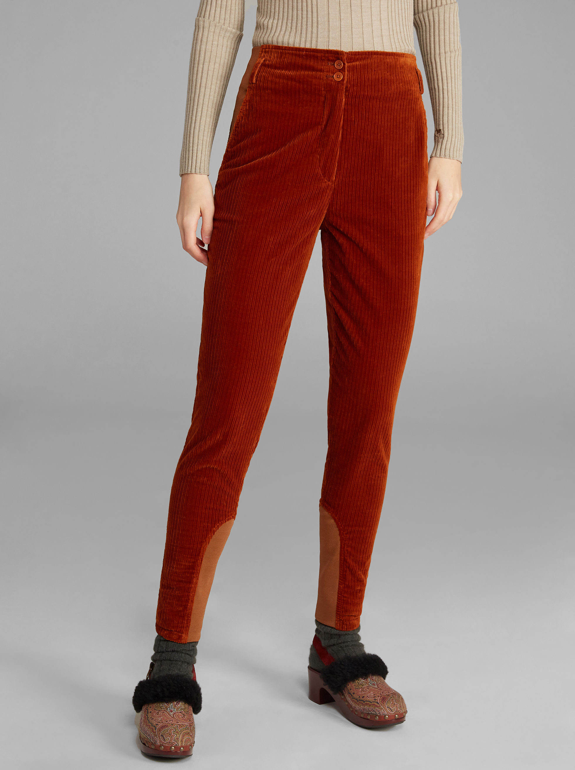 CORDUROY VELVET STRETCH TROUSERS