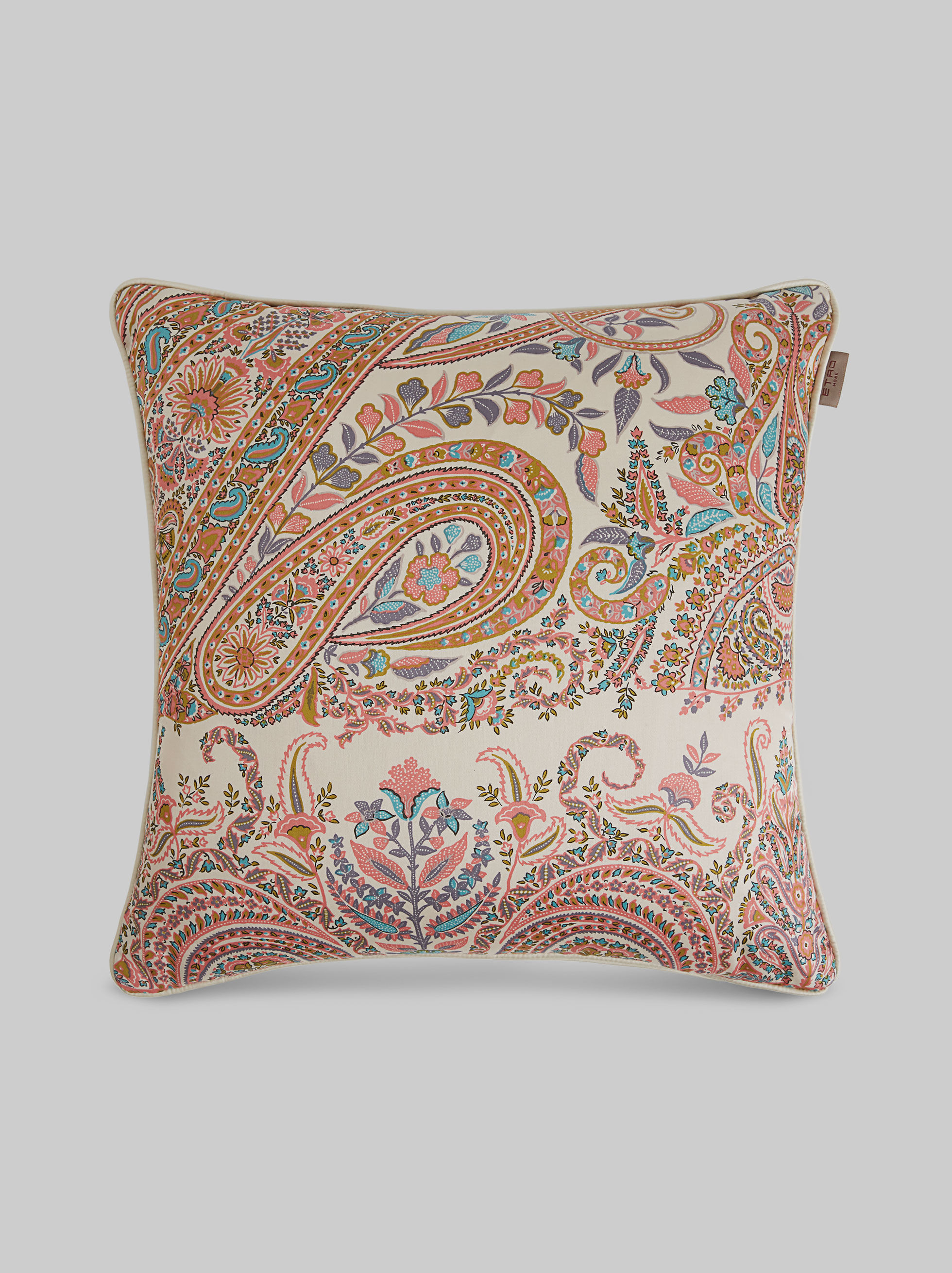 FLORAL PAISLEY PRINT SATIN CUSHION
