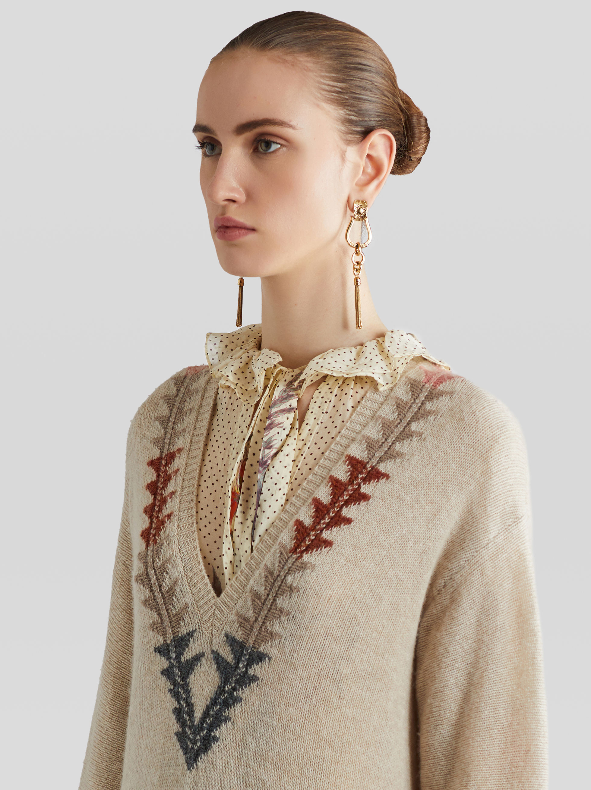 WOOL JUMPER WITH INLAY