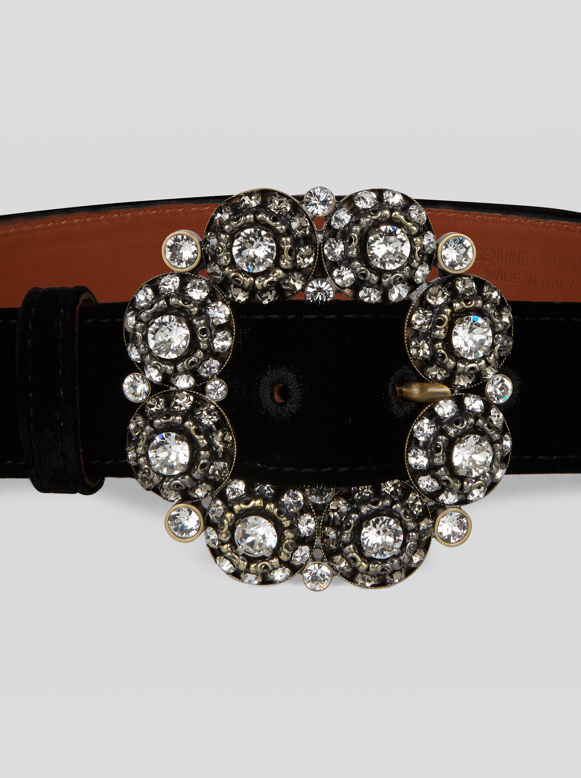VELVET BELT WITH JEWEL BUCKLE