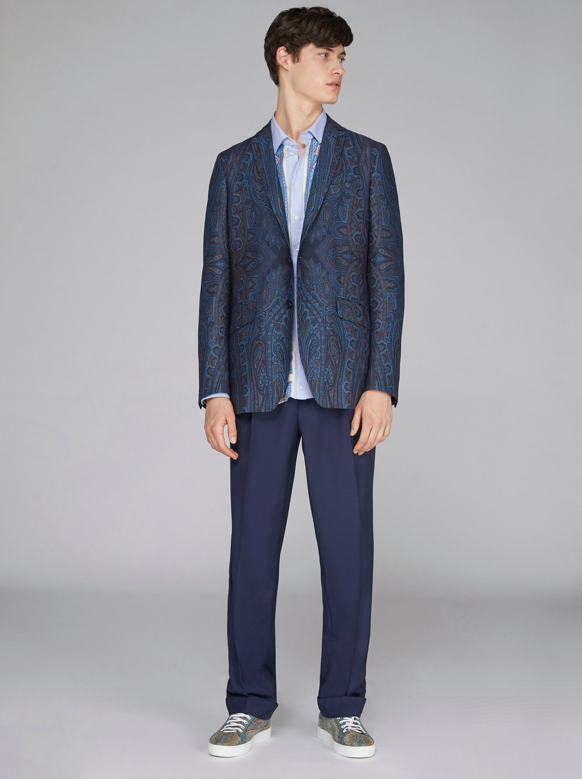 PAISLEY PRINT WOOL TAILORED JACKET