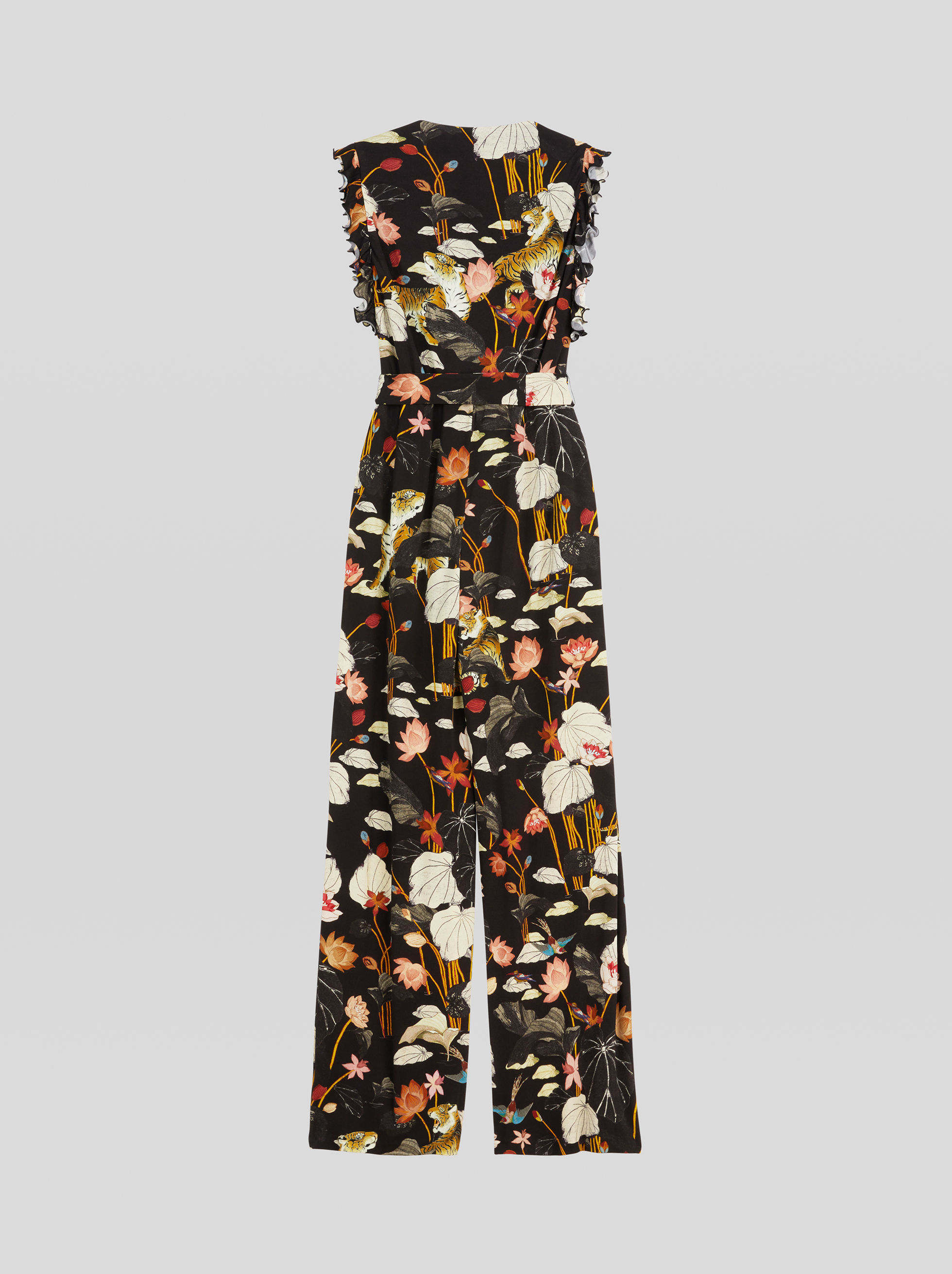 TIGER AND WATER LILY PRINT JUMPSUIT