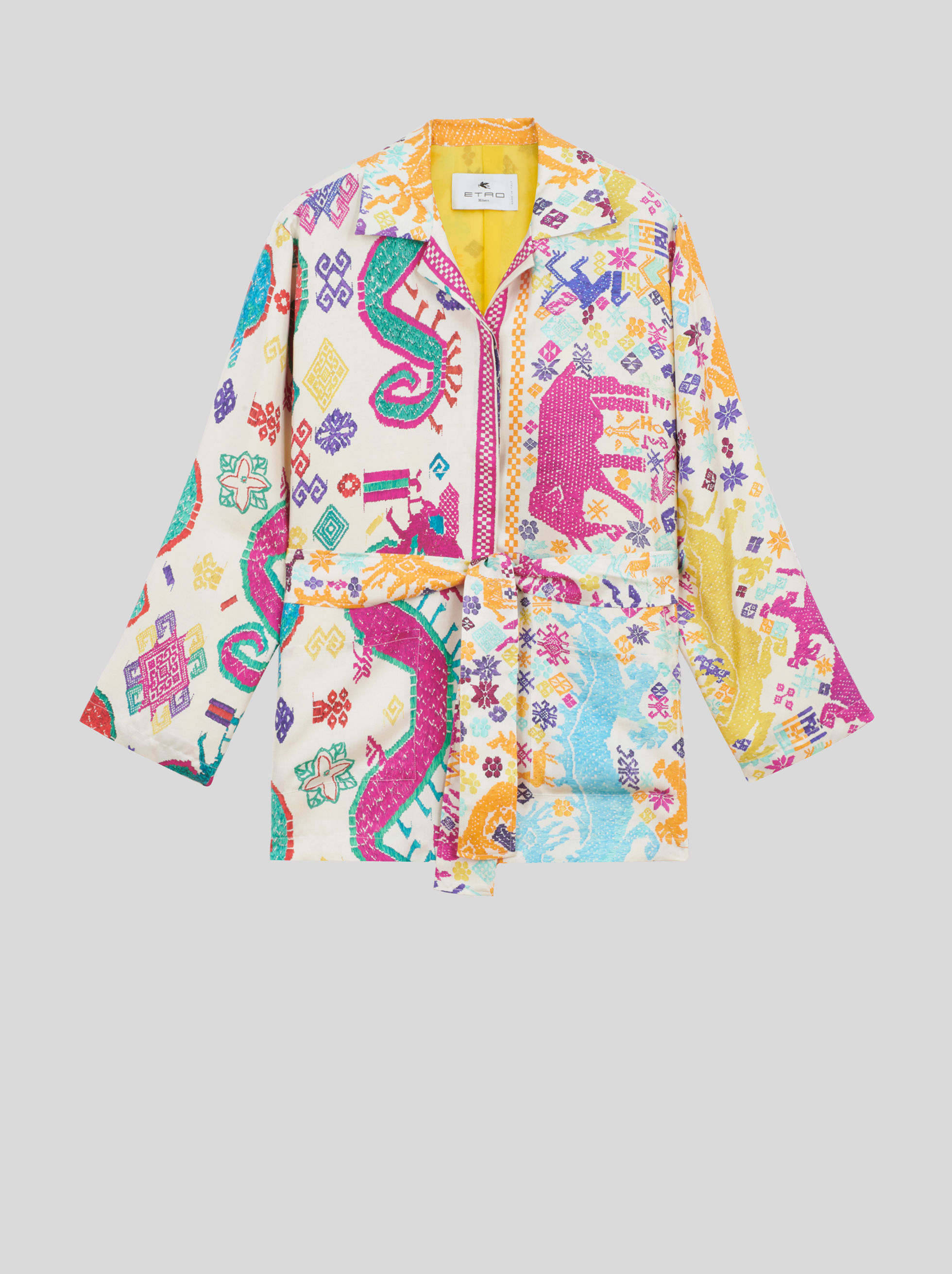 KIMONO JACKET WITH EMBROIDERY-EFFECT PRINT