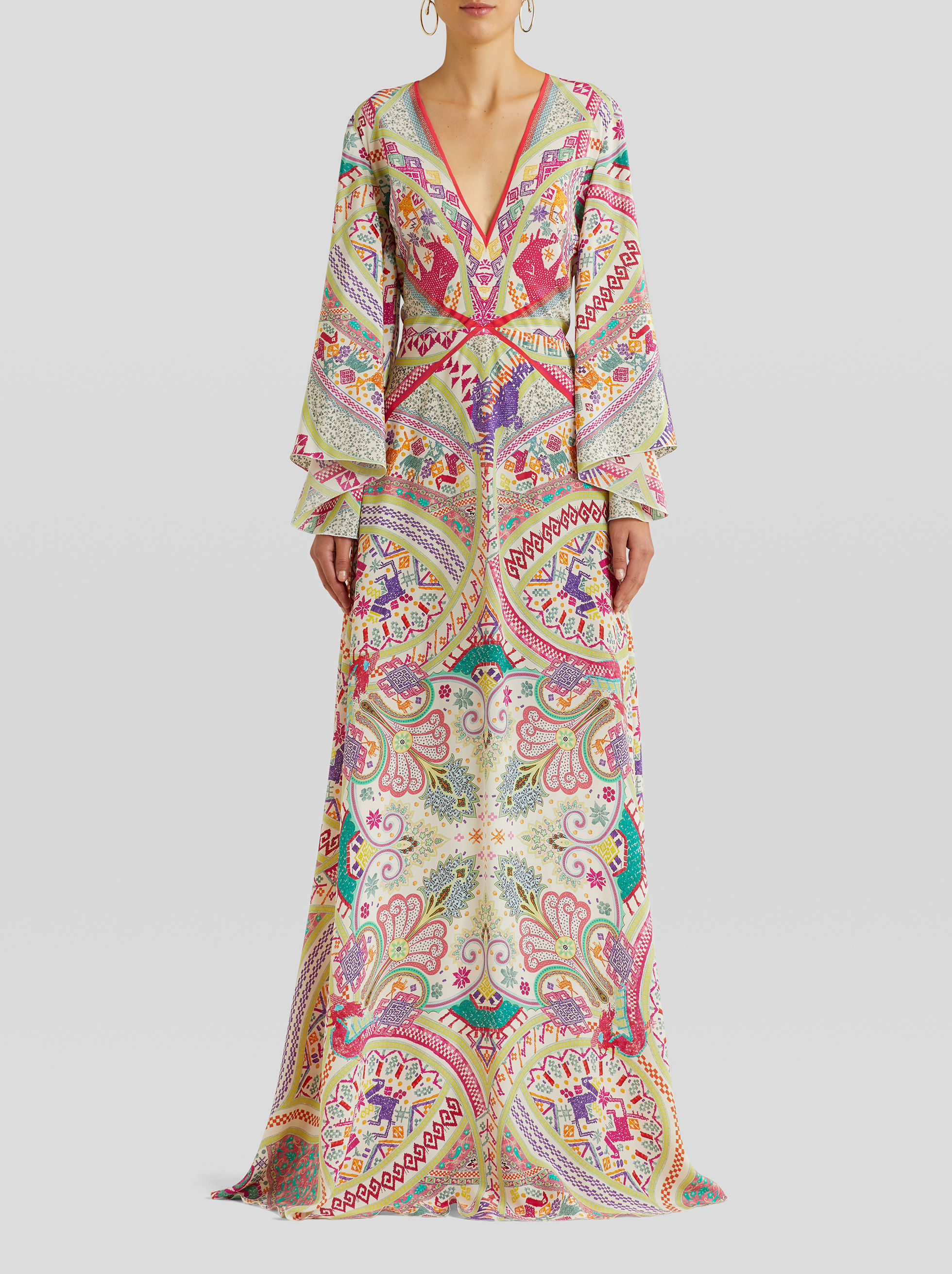 LONG PAISLEY PRINT SILK DRESS
