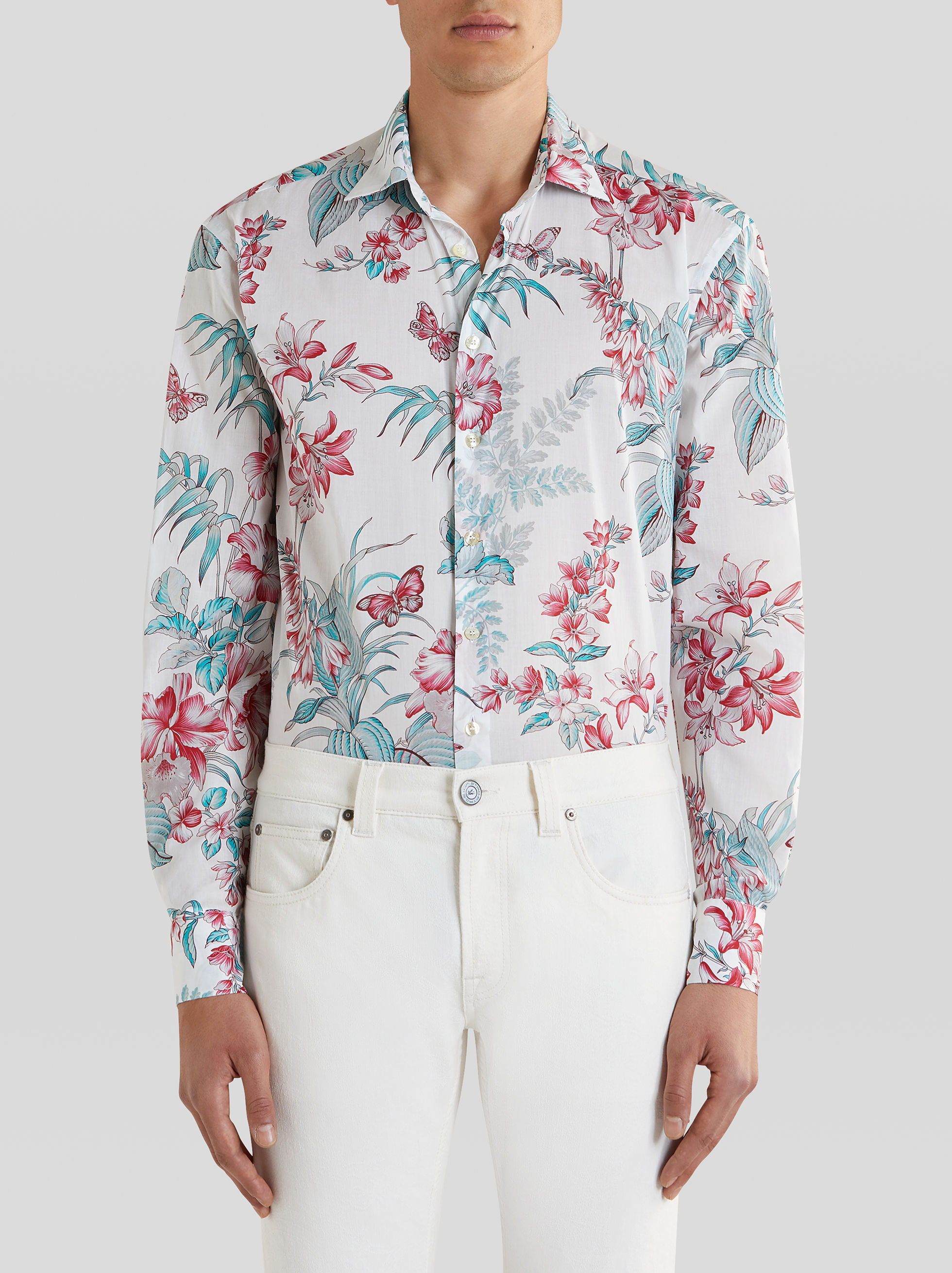 COTTON SHIRT WITH FLORAL AND BUTTERFLY PRINT