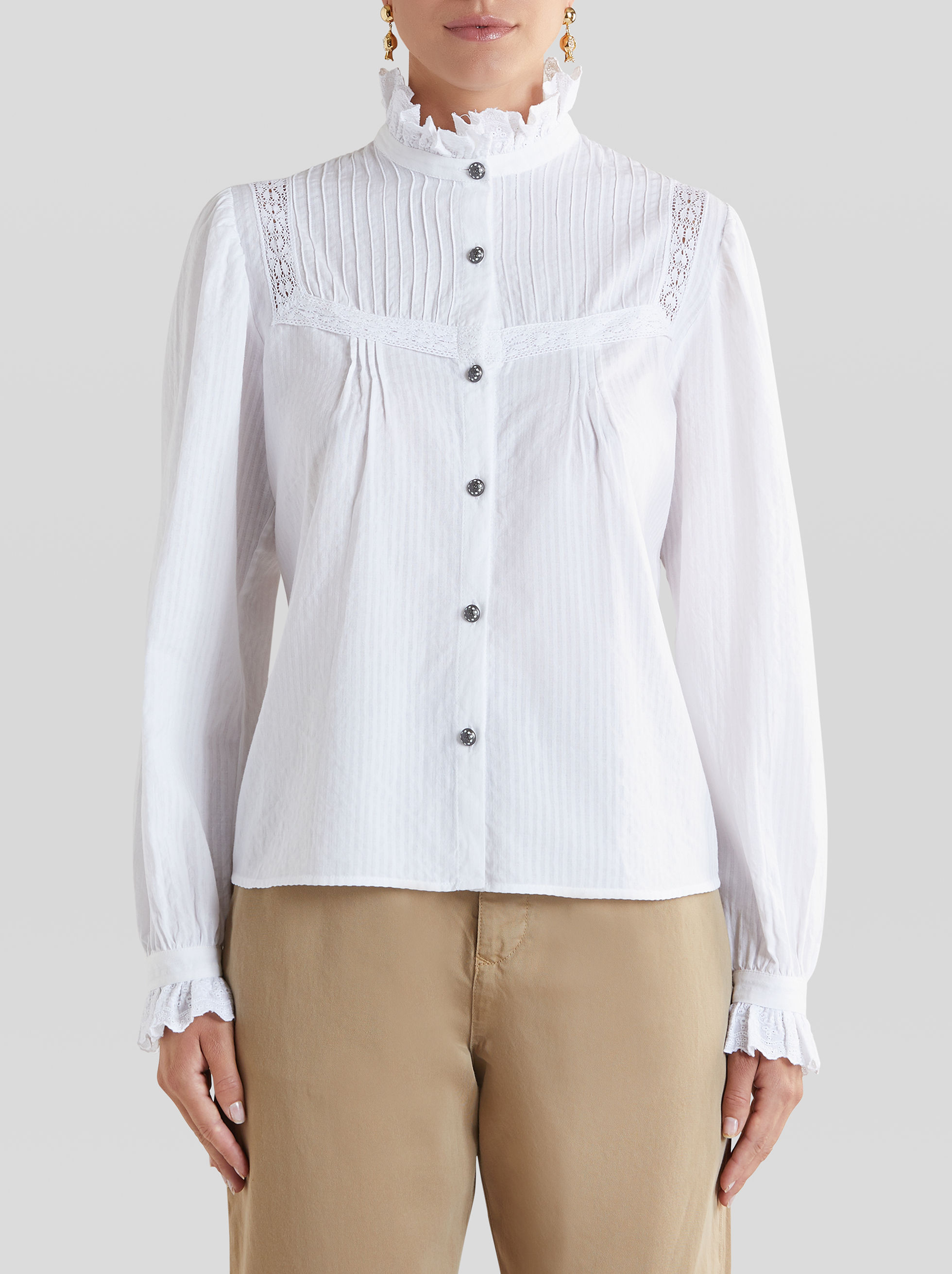 COTTON SHIRT WITH LACE