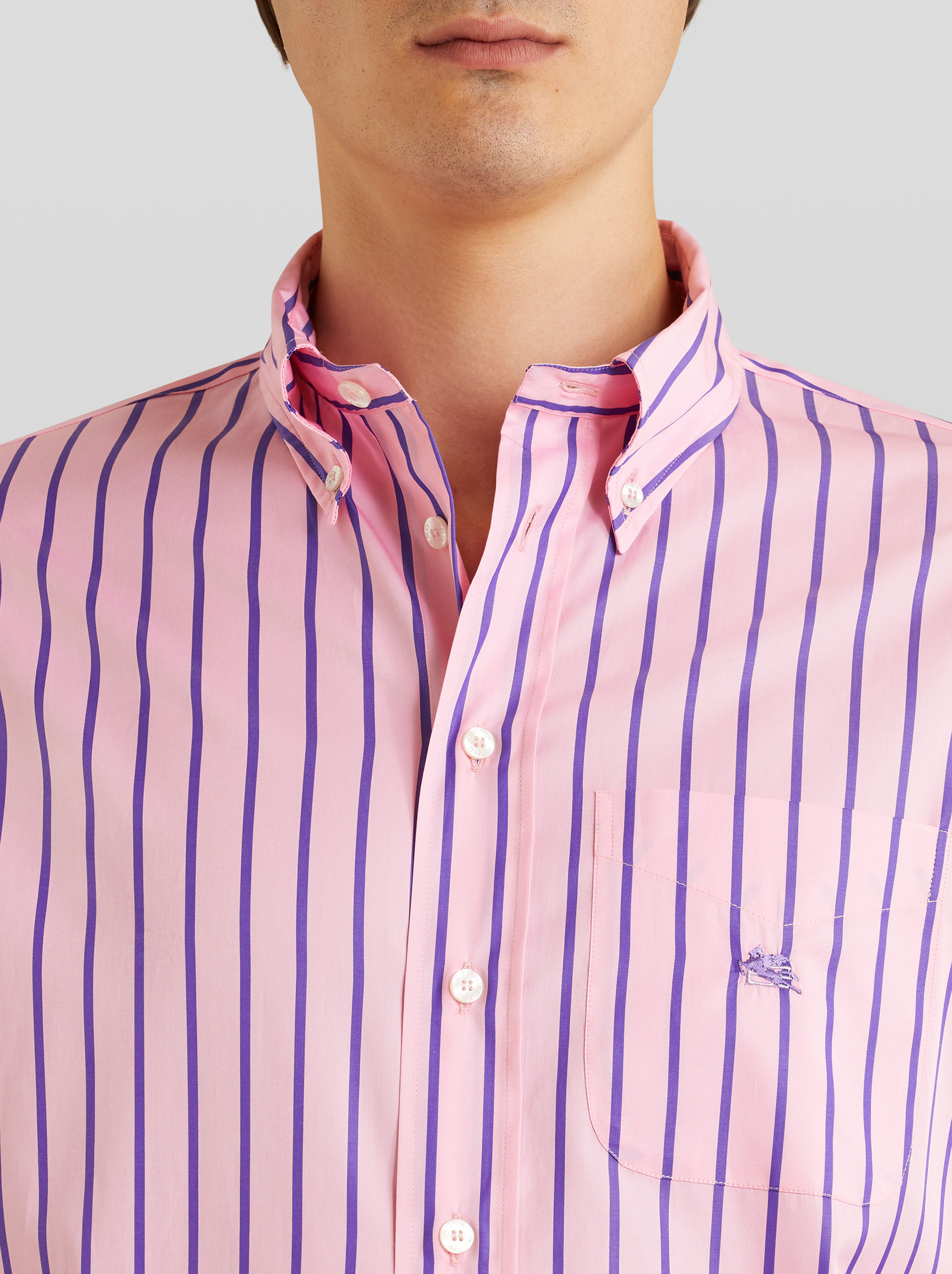STRIPED COTTON SHIRT WITH PEGASO
