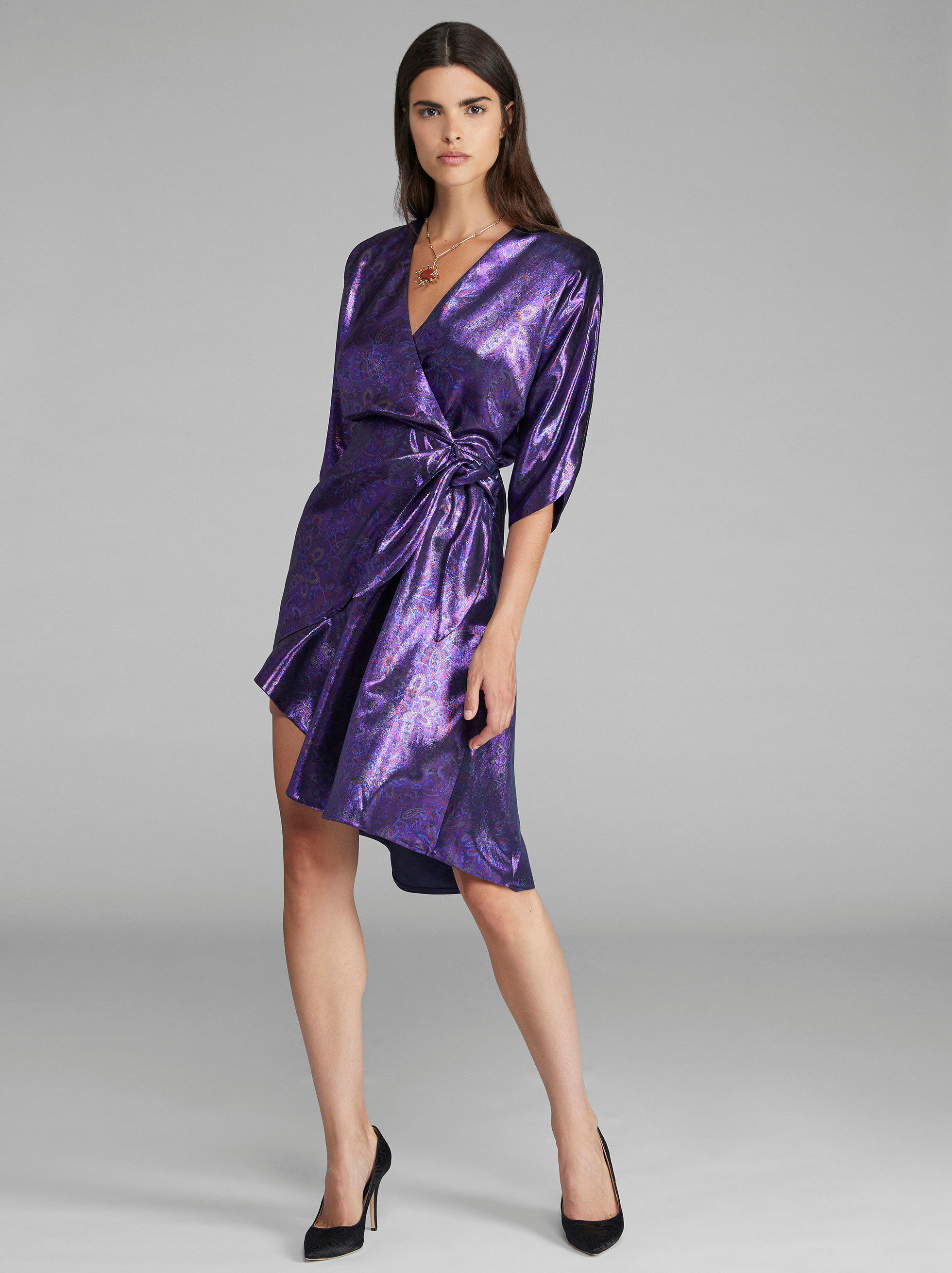 SILK AND LUREX WRAP DRESS