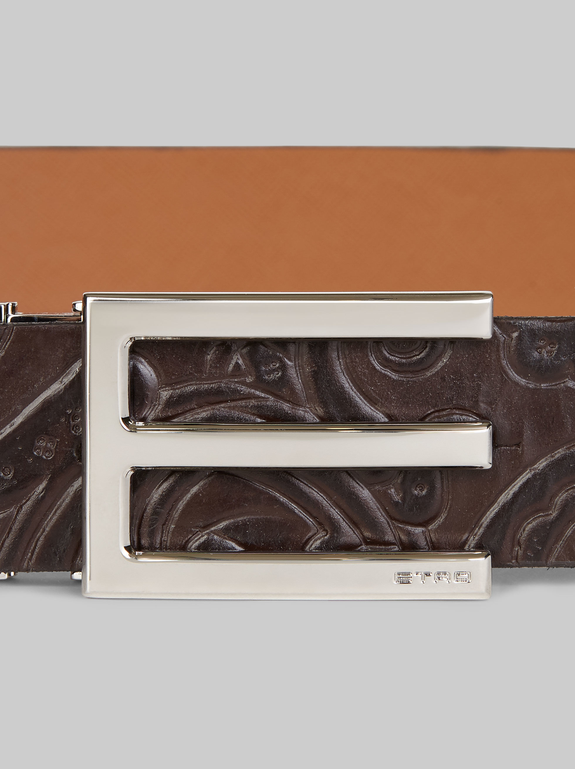 LEATHER BELT WITH TEXTURED PAISLEY PATTERN