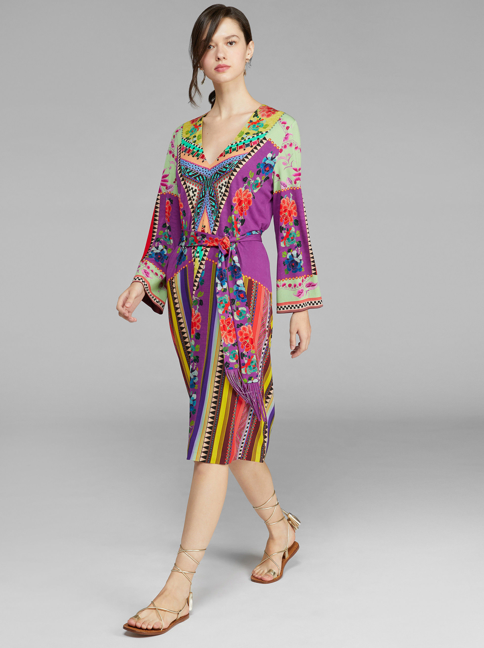 PATCHWORK PRINT JERSEY DRESS