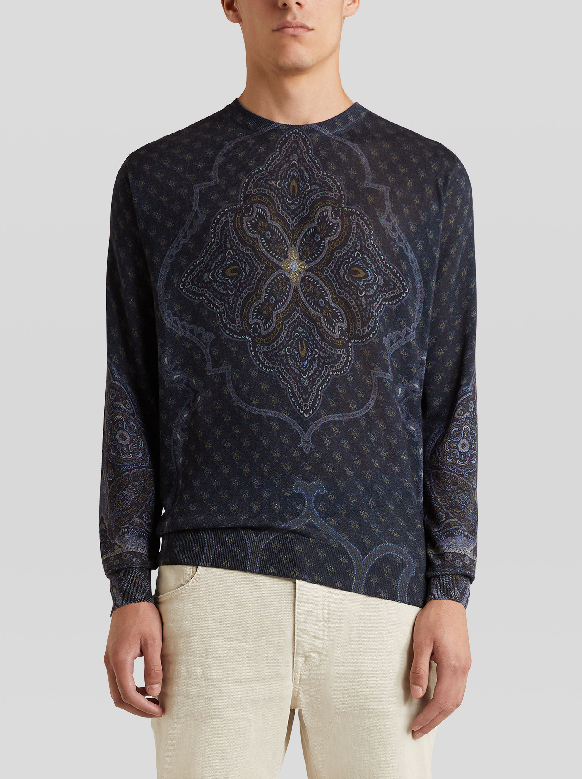 PLACED PRINT SILK AND CASHMERE JUMPER
