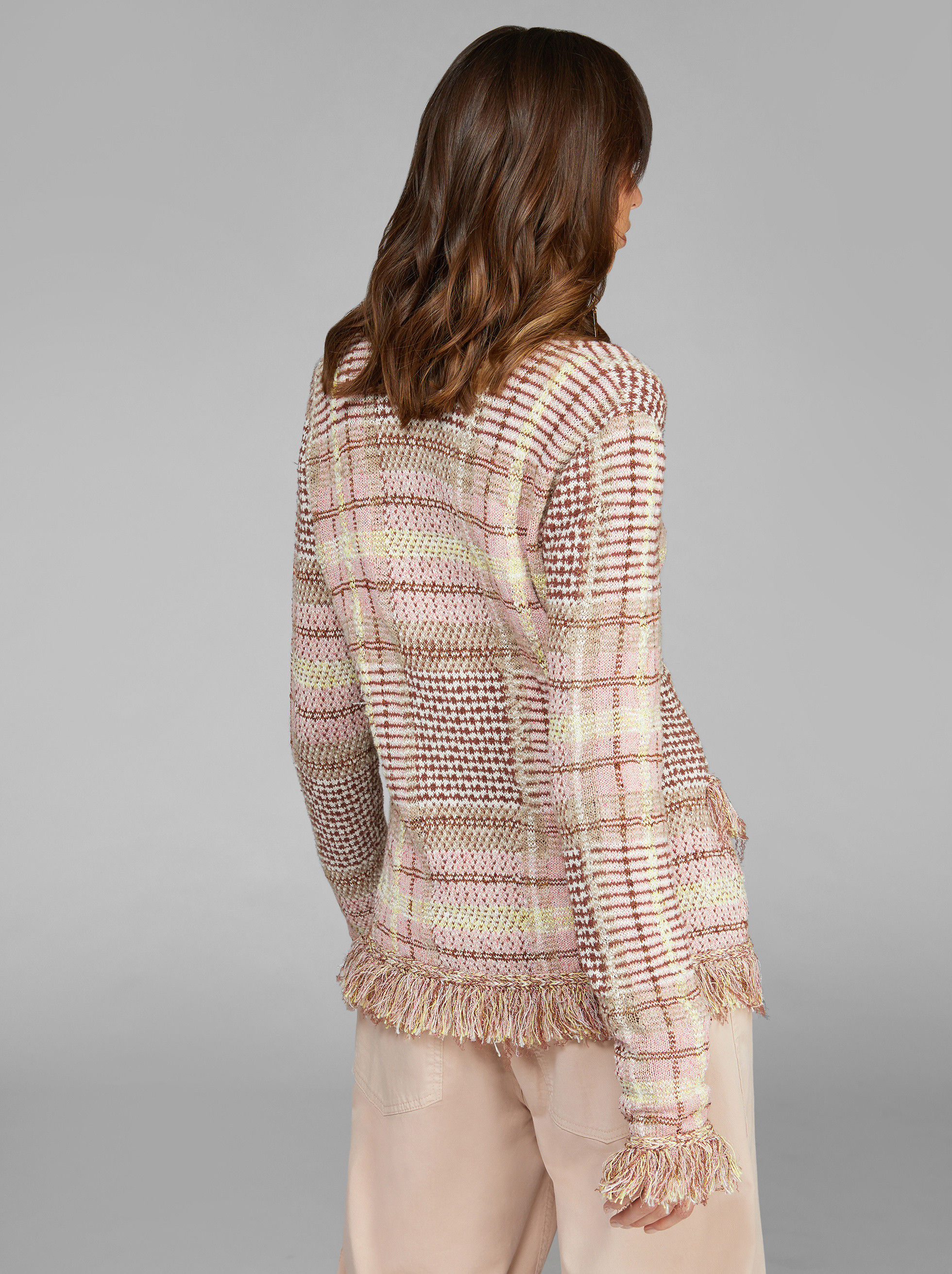 CHECK KNITTED JACKET