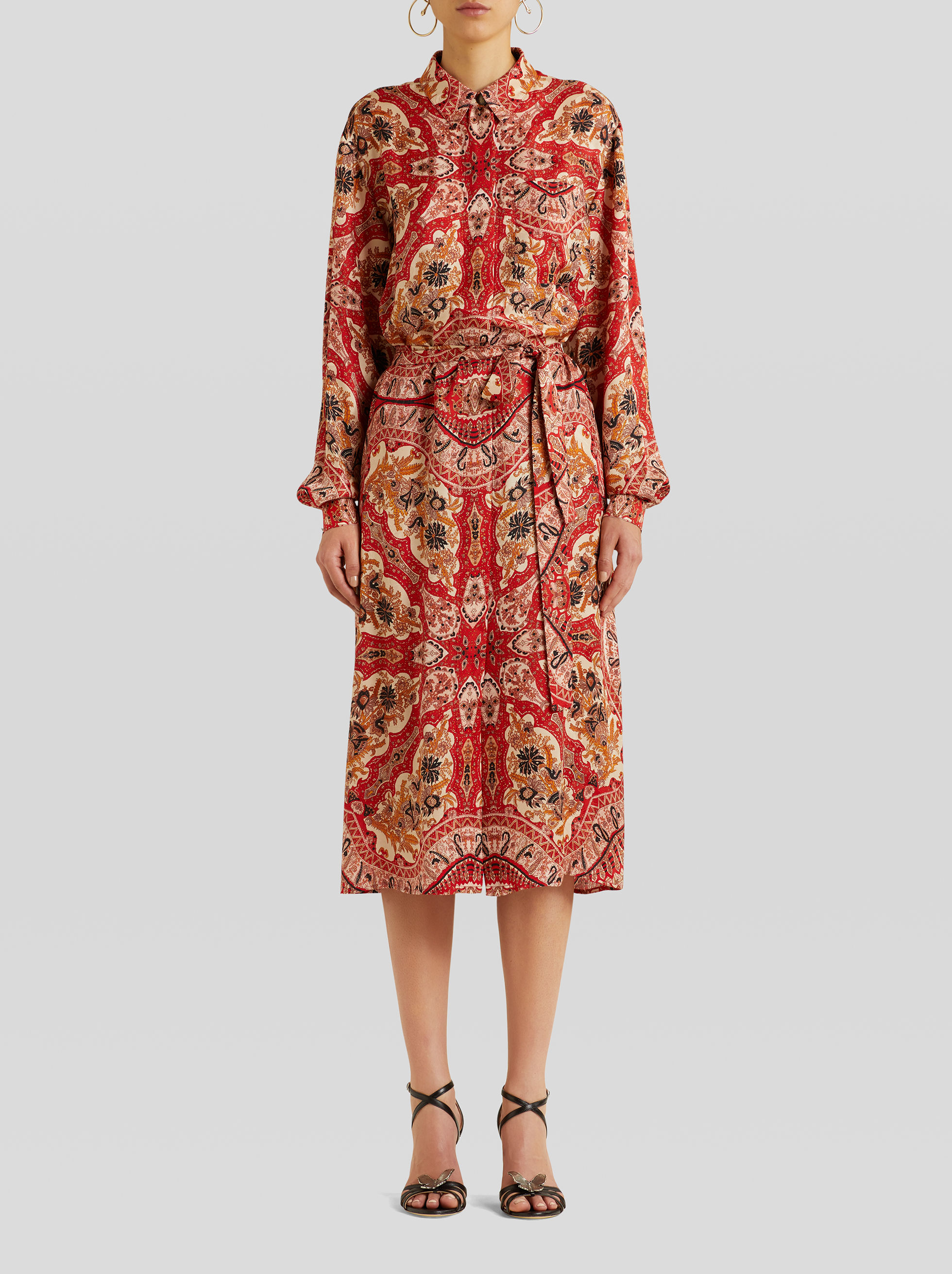 LONG PAISLEY MIRRORED PRINT SHIRT DRESS